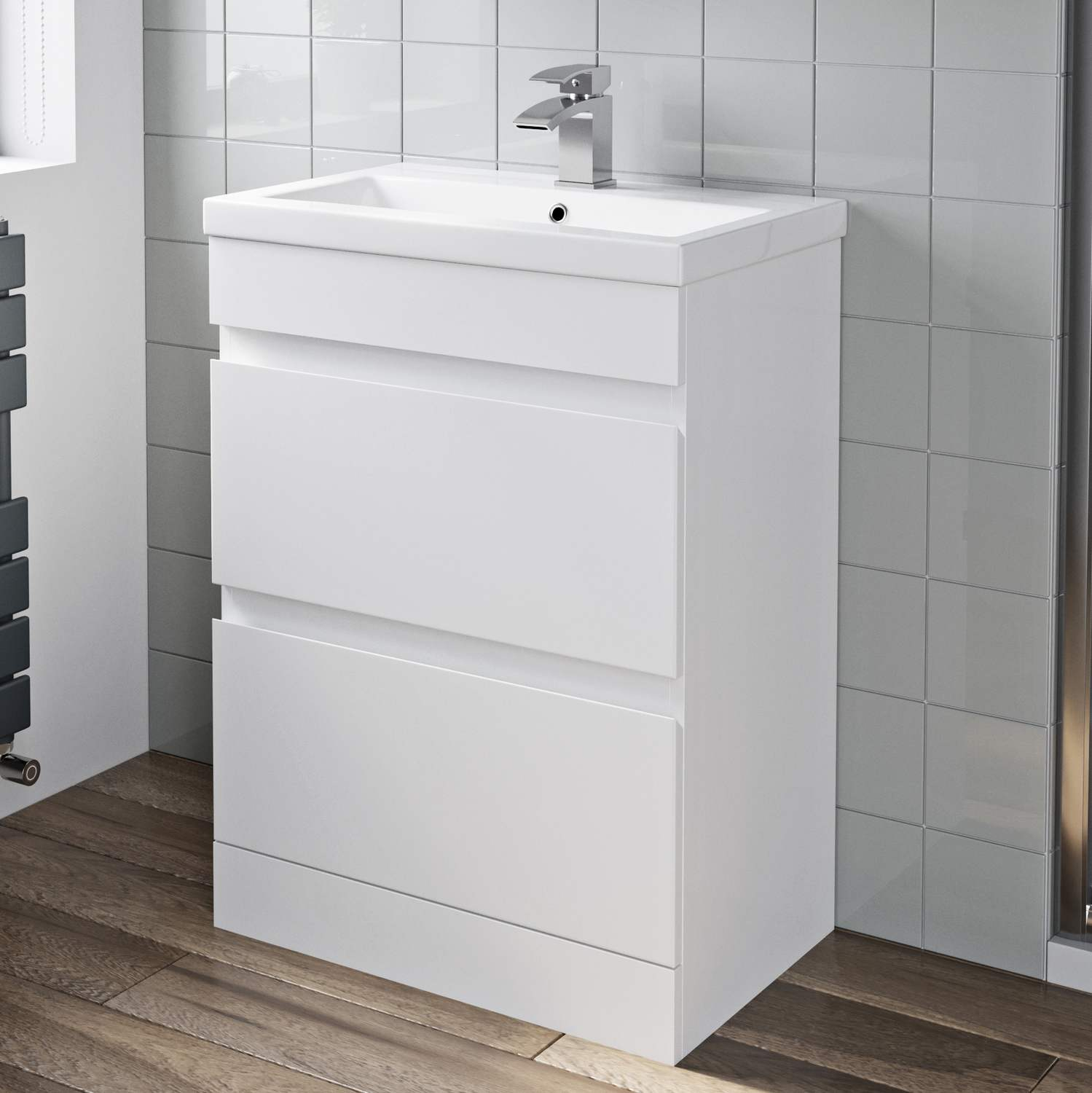 Details About 600mm Bathroom Vanity Unit Basin Storage 2 Drawer Cabinet Furniture White Gloss with measurements 1499 X 1500