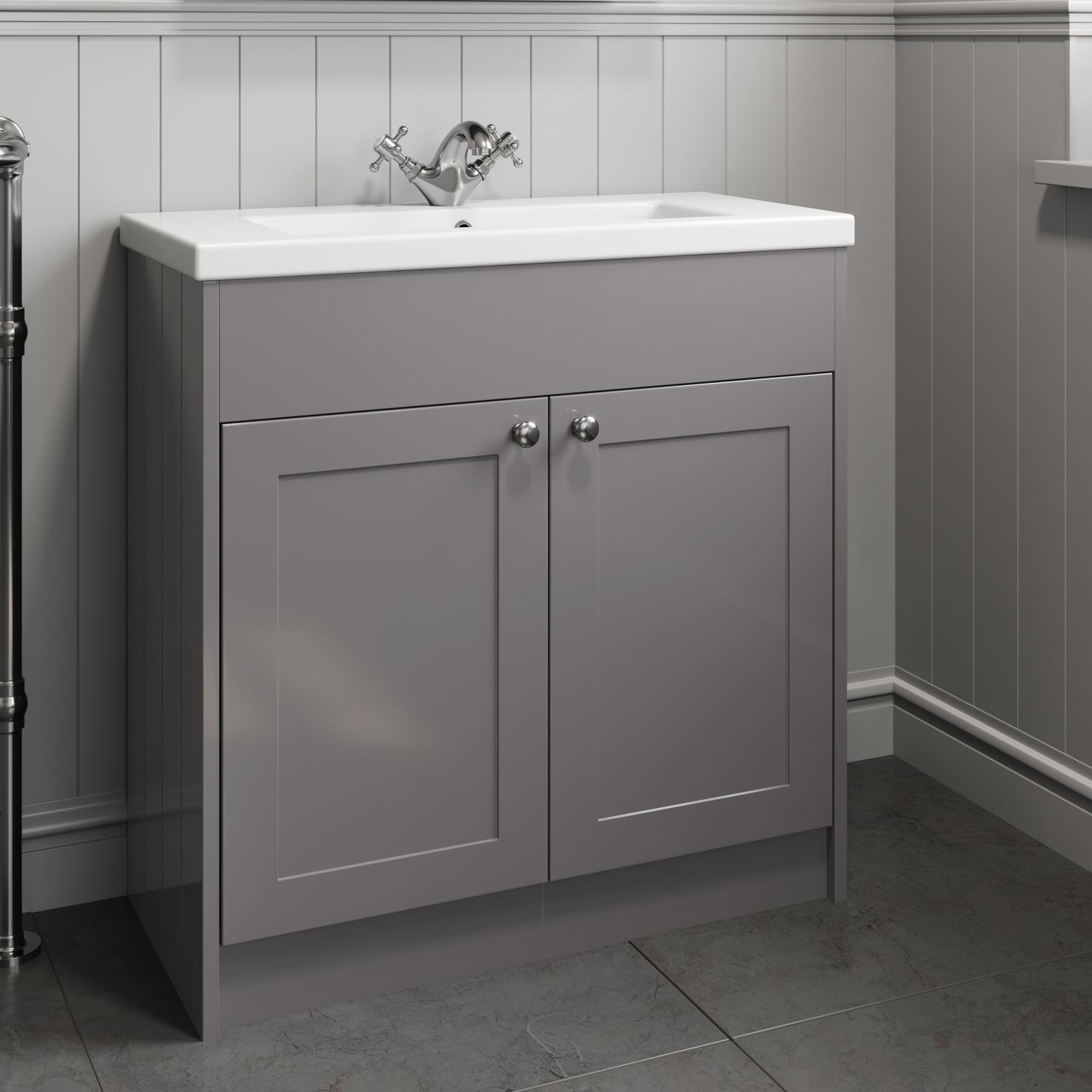 Details About 800mm Bathroom Vanity Unit Basin Sink Storage Cabinet Furniture Grey Traditional inside size 1500 X 1500