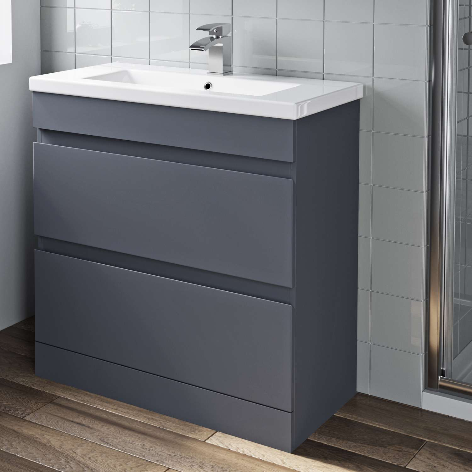 Details About 800mm Bathroom Vanity Unit Basin Storage 2 Drawer Cabinet Furniture Grey Gloss with regard to sizing 1500 X 1500