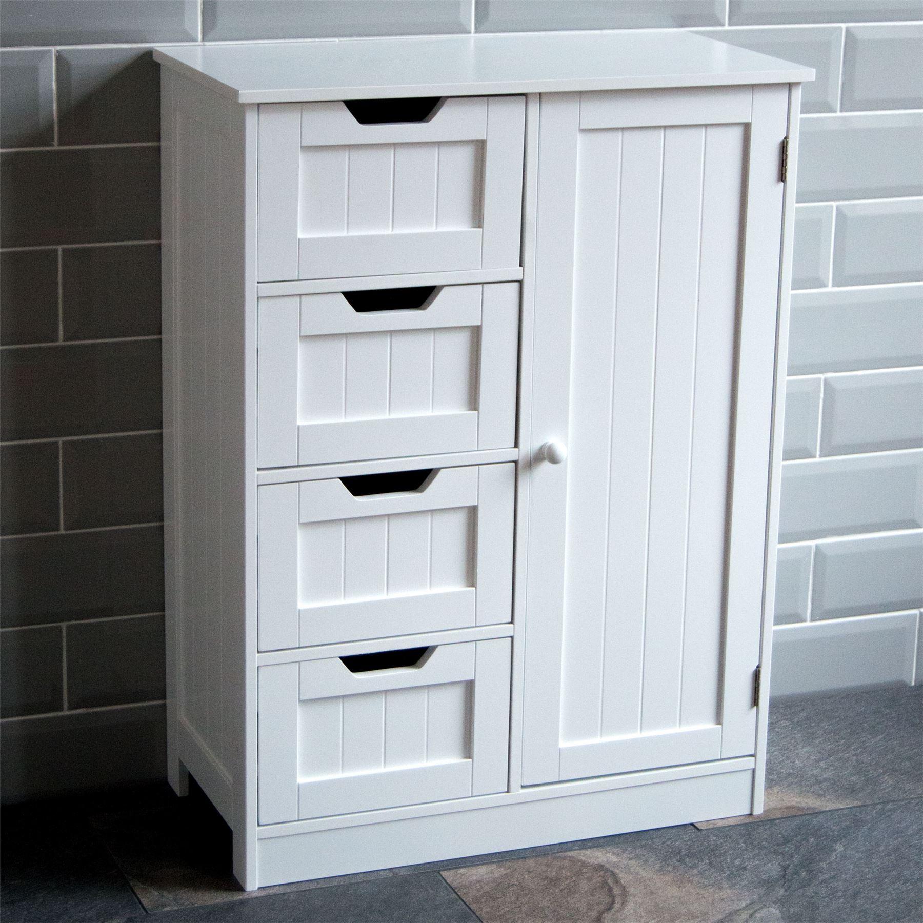 Details About Bathroom 4 Drawer Cabinet Door Storage Cupboard Wooden White Home Discount in measurements 1800 X 1800
