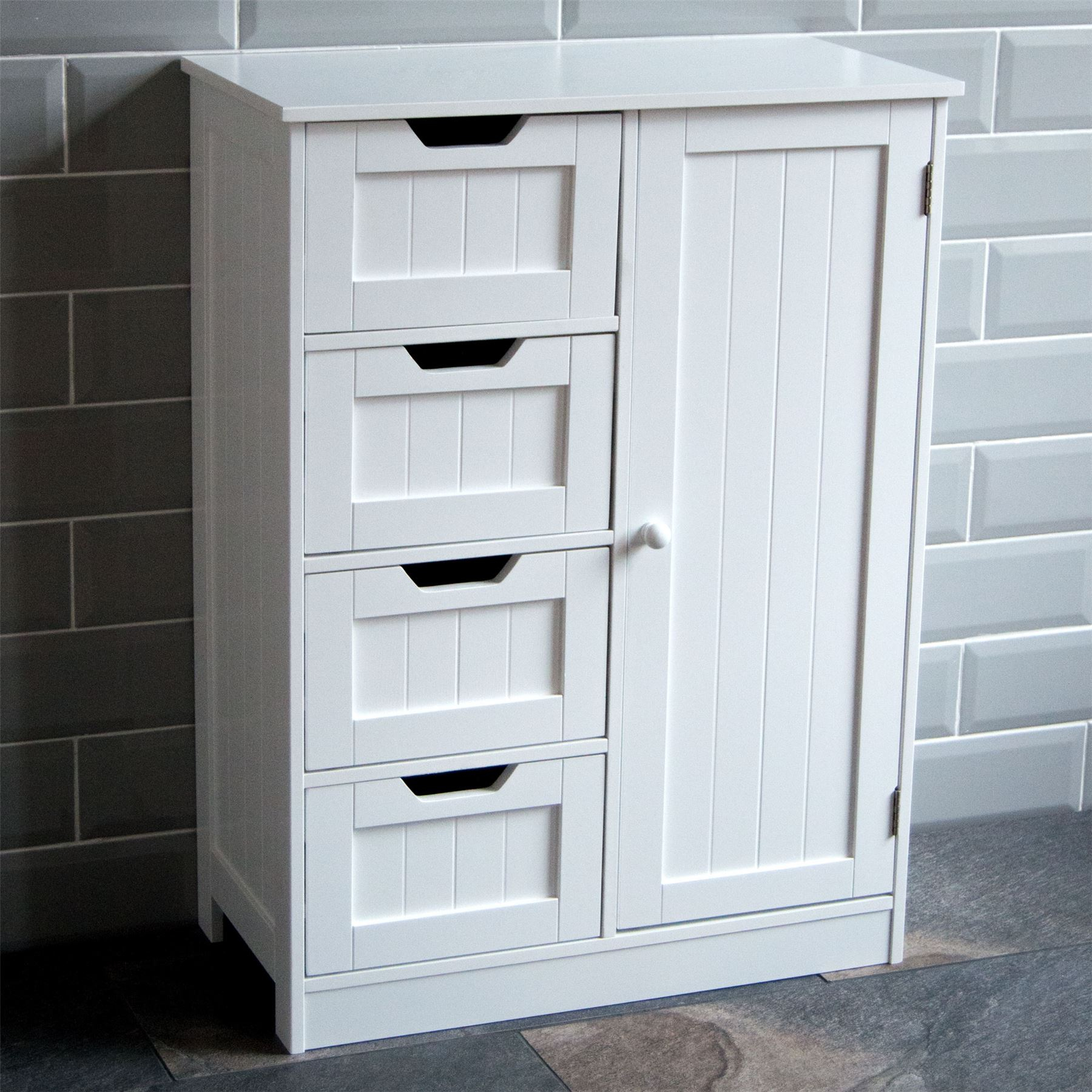 Details About Bathroom 4 Drawer Cabinet Door Storage Cupboard Wooden White Home Discount with regard to measurements 1800 X 1800