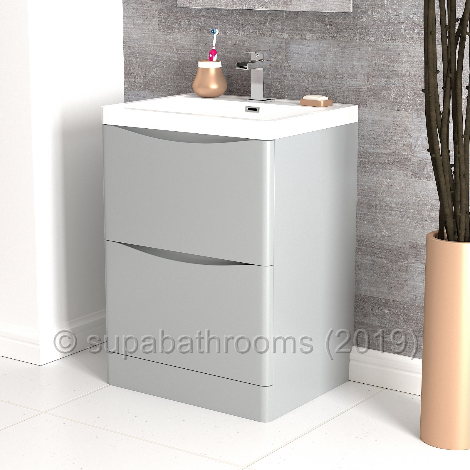 Details About Bathroom Vanity Unit Basin Storage 2 Drawer Smile Grey Cabinet Furniture 600mm pertaining to proportions 1600 X 1600