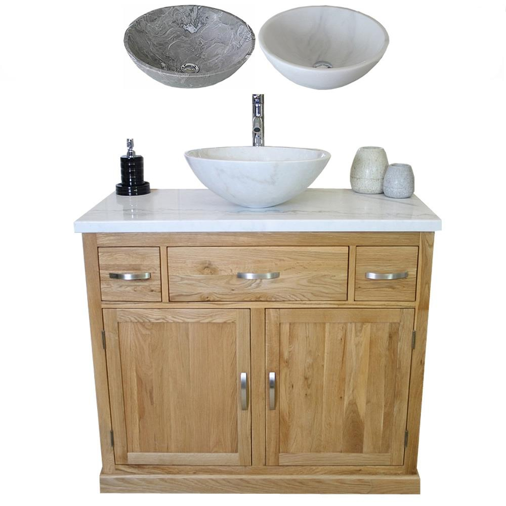 Details About Bathroom Vanity Unit Oak Cabinet Wash Stand White Marble Top Stone Basin 1161 intended for size 1000 X 1000
