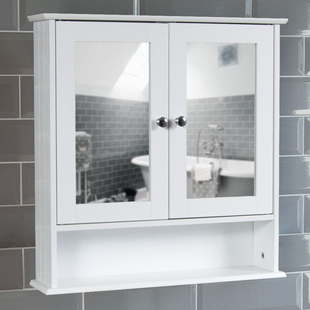 Details About Bathroom Wall Cabinet Double Mirror Door Wooden White Shelf New Home Discount within measurements 1000 X 1000