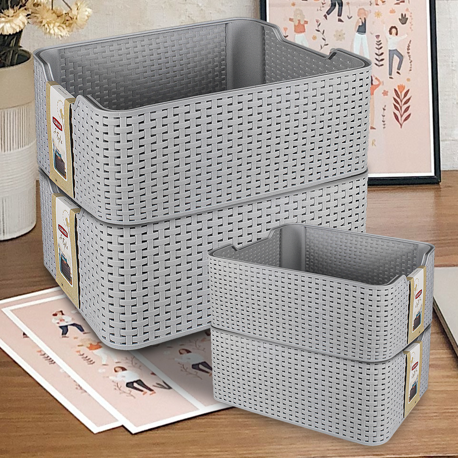 Details About Curver Plastic Rattan Basket Bathroom Stackable Storage Boxes Toiletries Makeup throughout dimensions 1500 X 1500