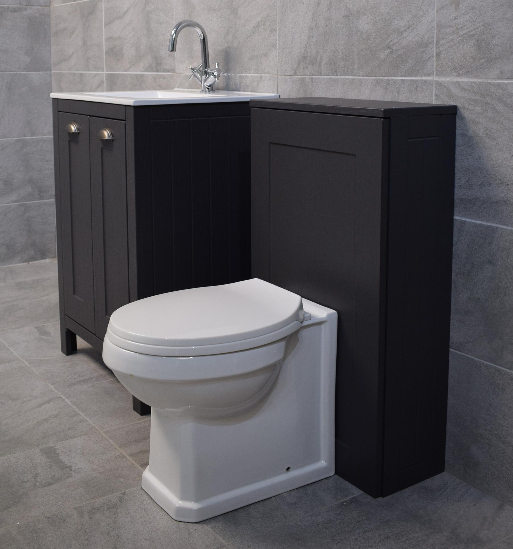 Details About Der Dark Grey Bathroom Furniture Suite Sink Storage Unit Toilet Bath intended for proportions 1800 X 1927
