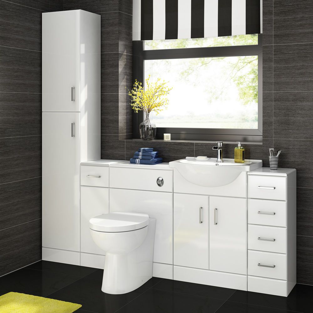 Details About Gloss White Vanity Units Basin Storage with regard to measurements 1000 X 1000