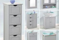 Details About Grey Wooden Bathroom Cabinet Shelf Cupboard Bedroom Storage Unit Free Standing throughout dimensions 1500 X 1500