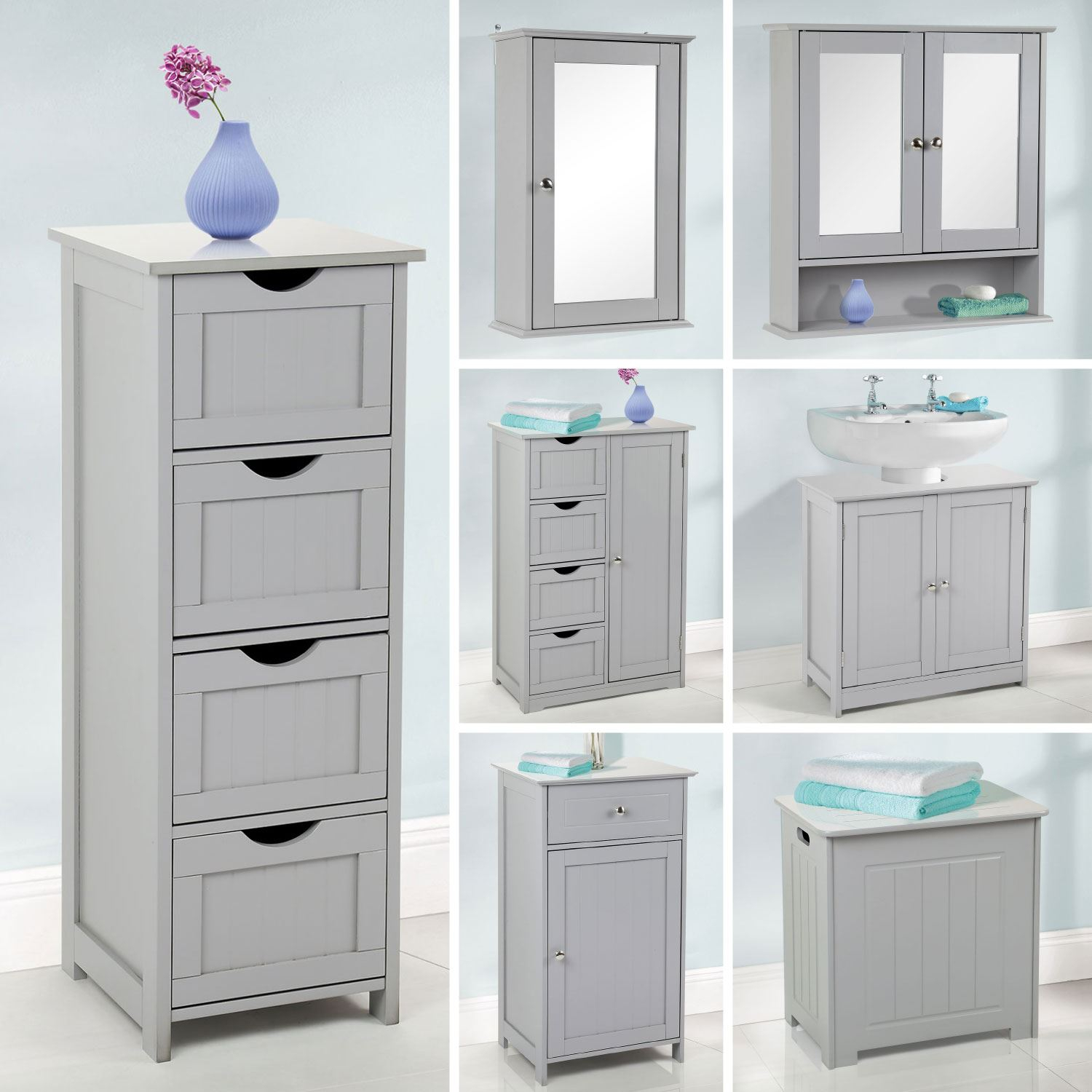 Details About Grey Wooden Bathroom Furniture Range Storage Cabinet Cupboard Under Sink Mirror in measurements 1500 X 1500