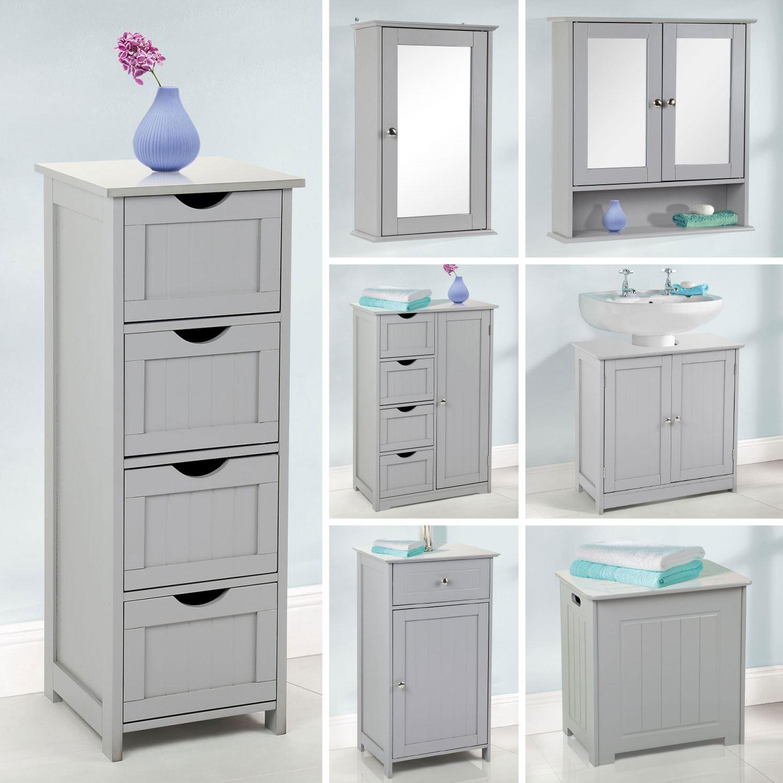 Details About Grey Wooden Bathroom Furniture Range Storage Cabinet Cupboard Under Sink Mirror in proportions 1500 X 1500
