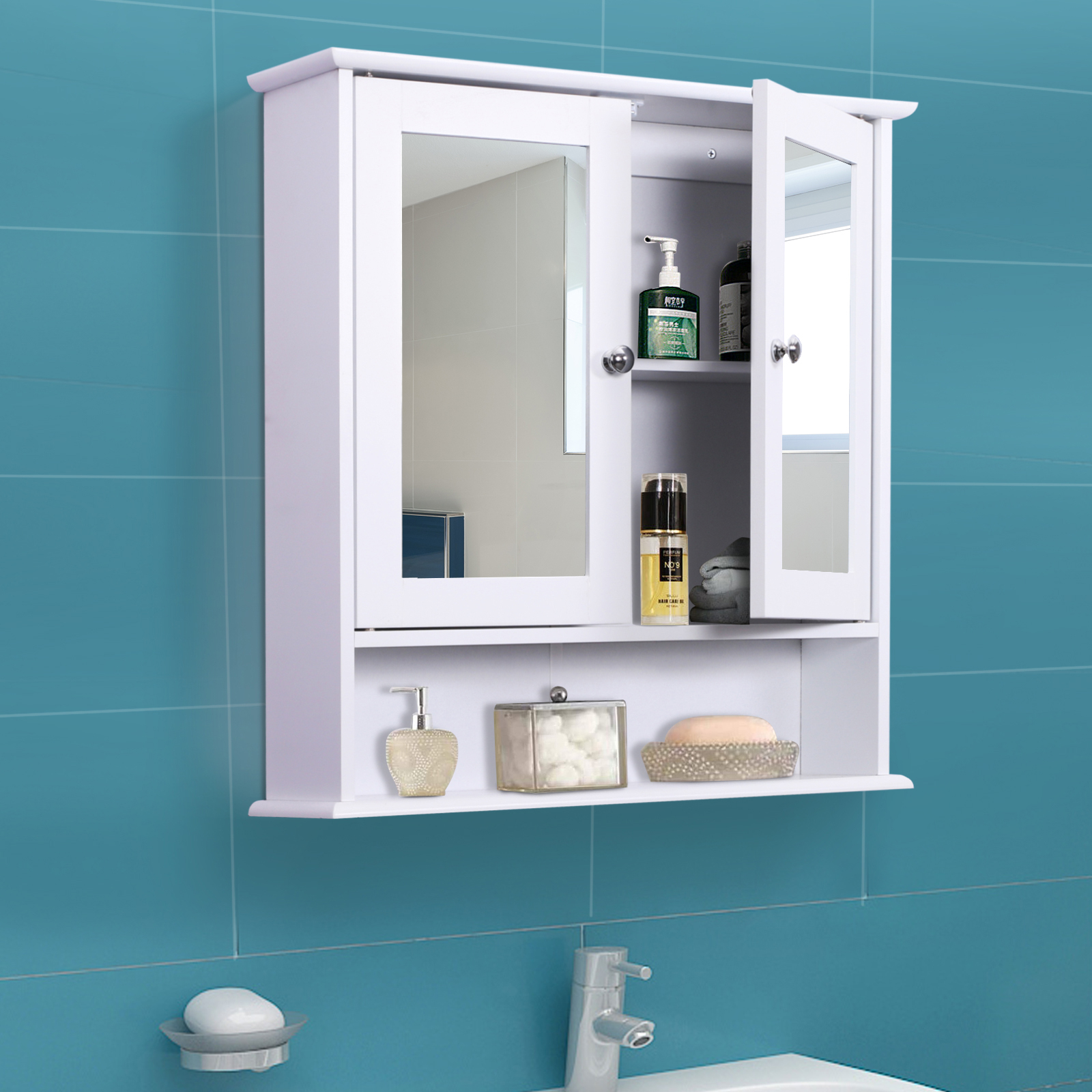 Details About Kleankin Bathroom Storage Cabinet Wall Medicine Cabinet Adjustable Shelf White intended for sizing 1600 X 1600