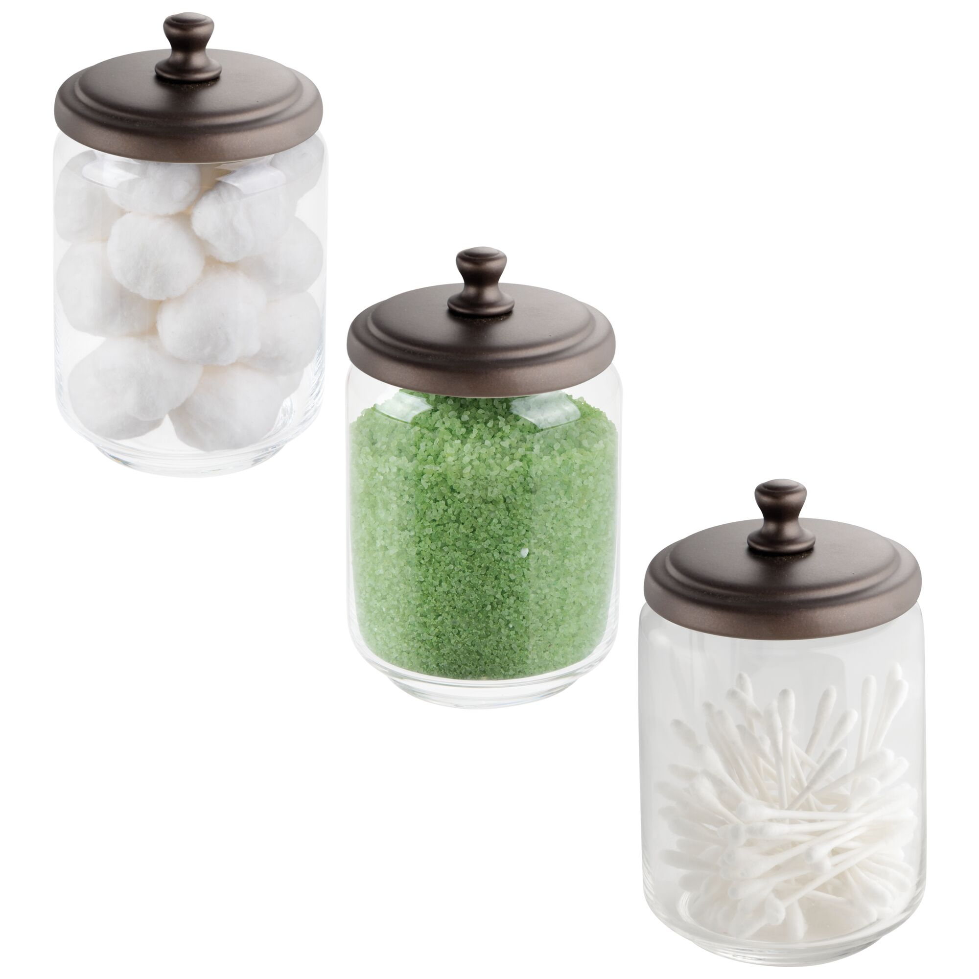 Details About Mdesign Glass Storage Apothecary Jar For Bathroom Vanity 3 Pack for proportions 2000 X 2000