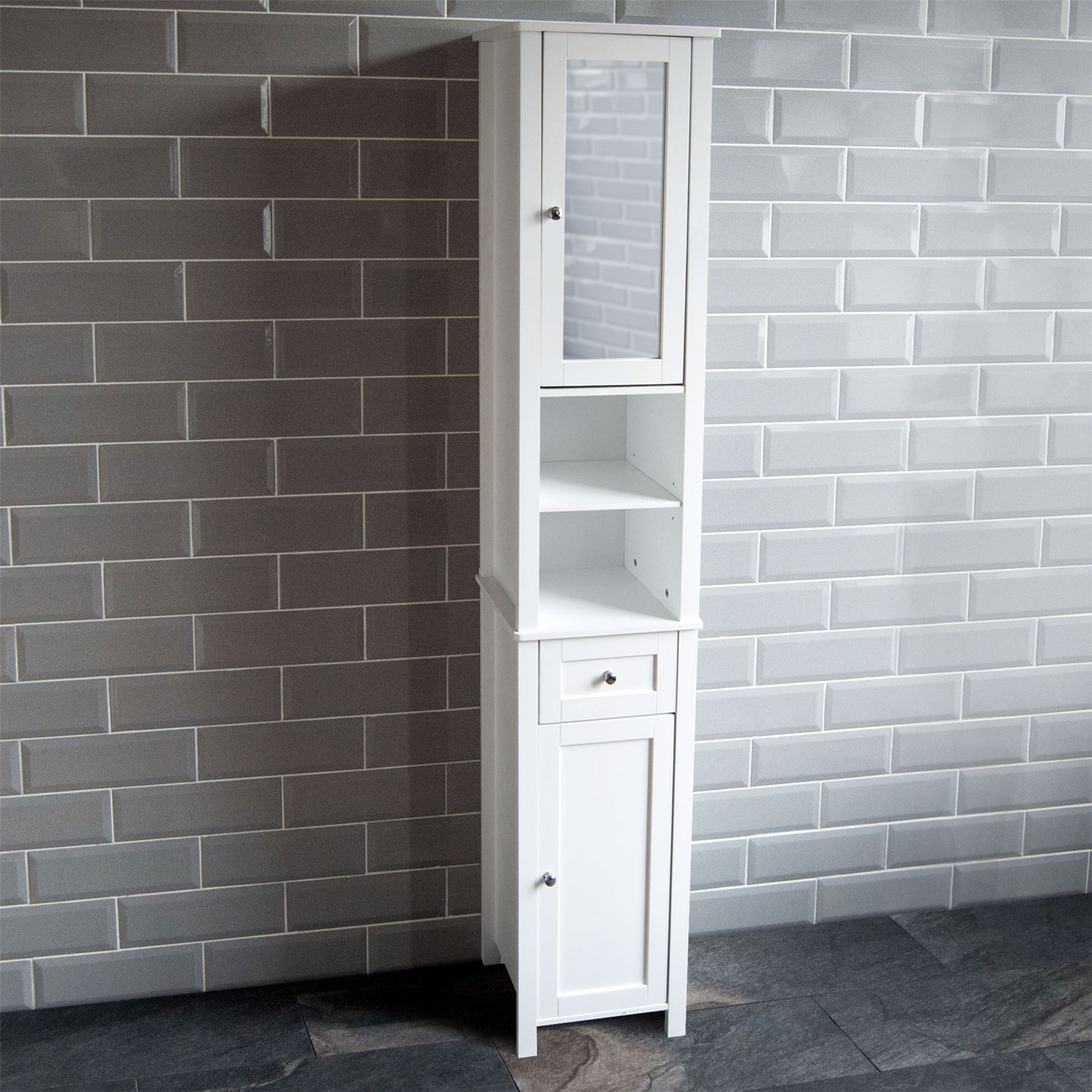 Details About Milano Tall Bathroom Cabinet Mirrored Door Cupboard Storage Shelf Shelving Unit for measurements 1800 X 1800