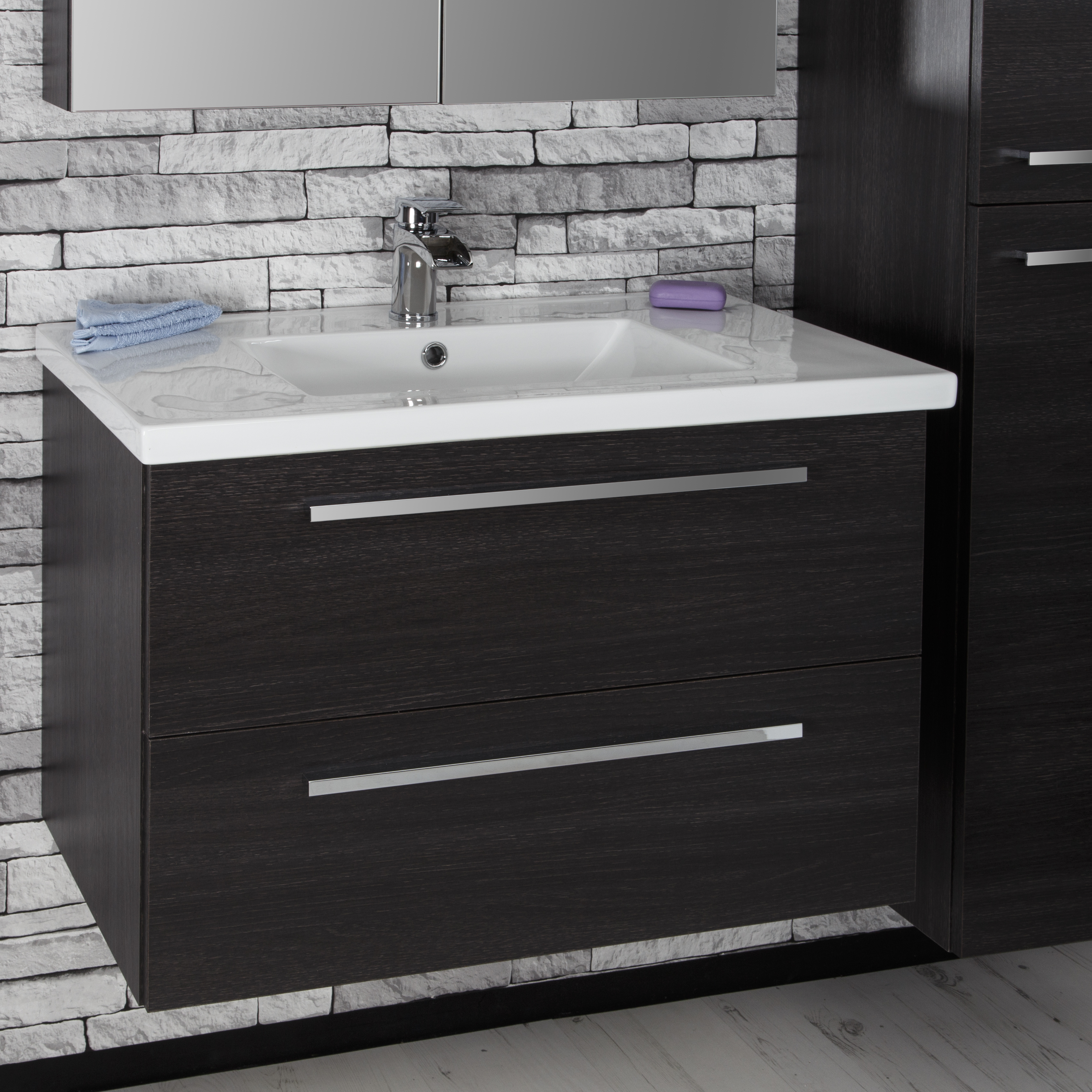 Details About Modern Black Oak Bathroom Basin Sink Vanity Unit Furniture Led Mirror Cabinet in dimensions 3437 X 3437