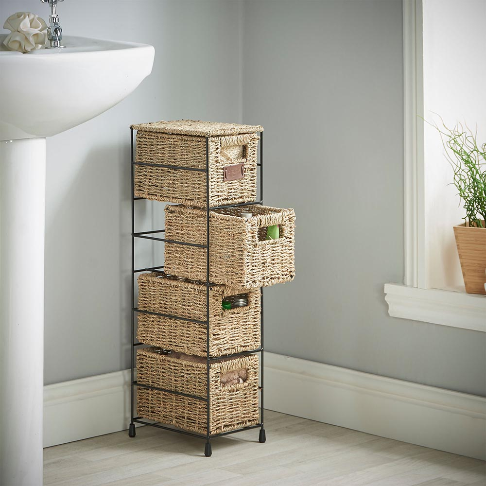 Details About Practical Bathroom Storage Baskets Organizer 4 Tier Tower Unit Drawers Shelves regarding proportions 1000 X 1000