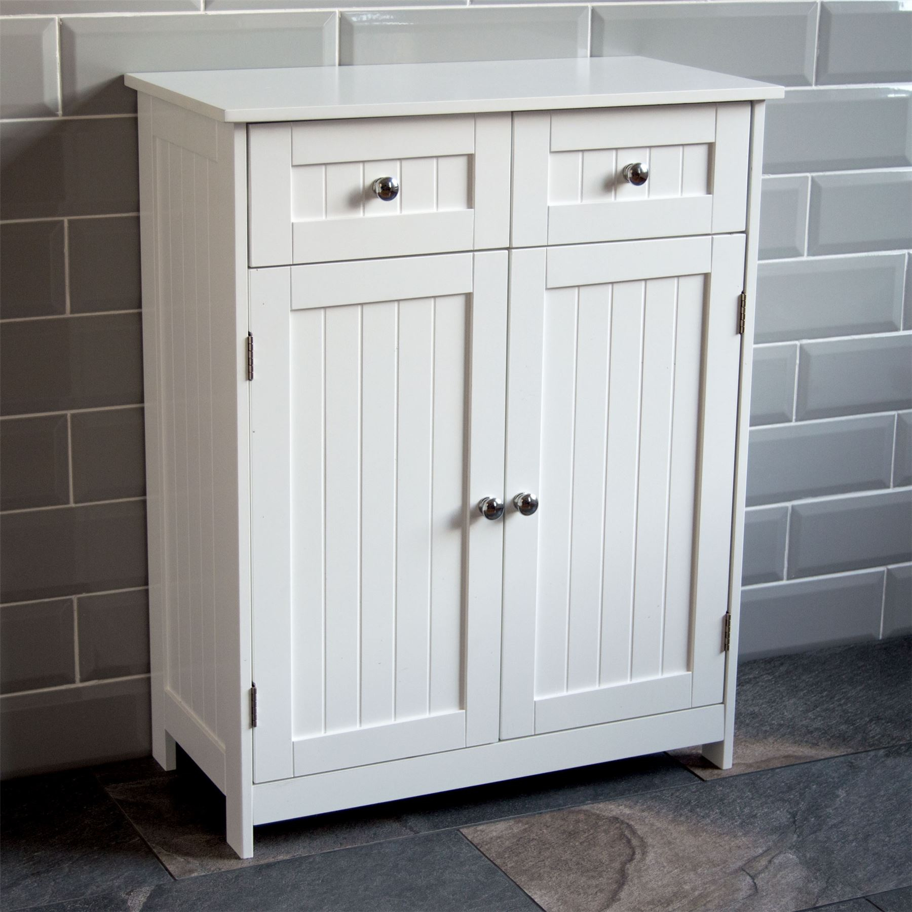 Details About Priano Bathroom Cabinet 2 Drawer 2 Door Storage Cupboard Unit Furniture White with measurements 1800 X 1800