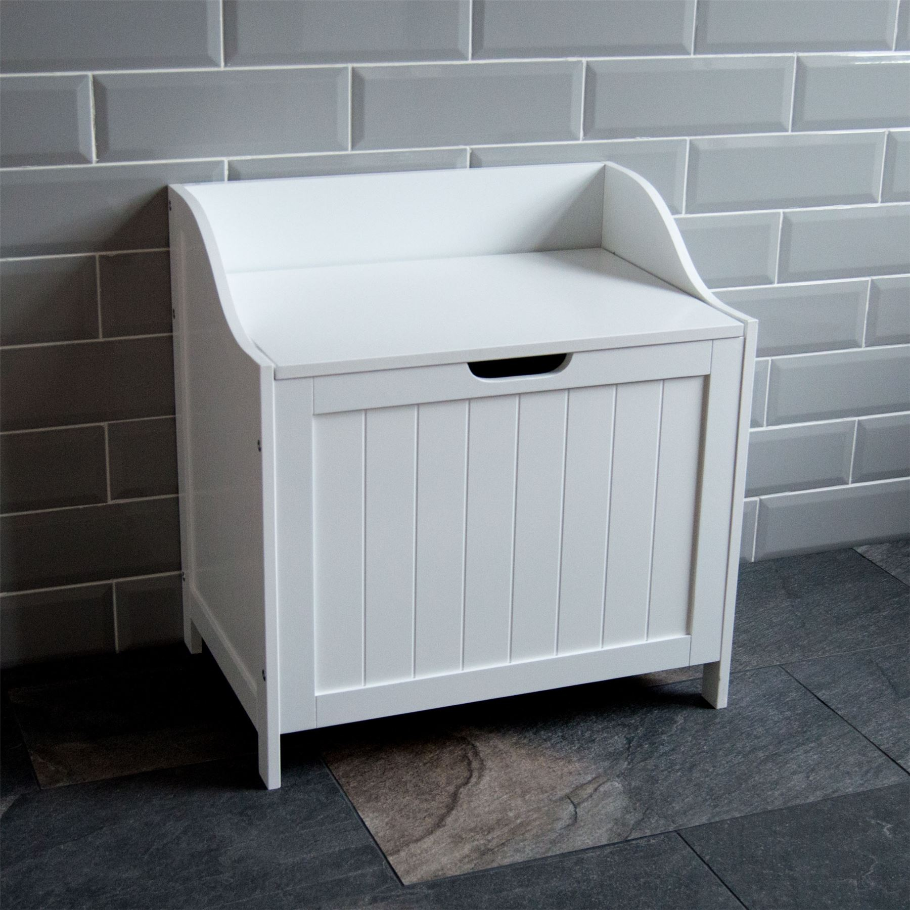 Details About Priano Bathroom Laundry Cabinet Storage Bin Chest Basket Box Furniture White in sizing 1800 X 1800