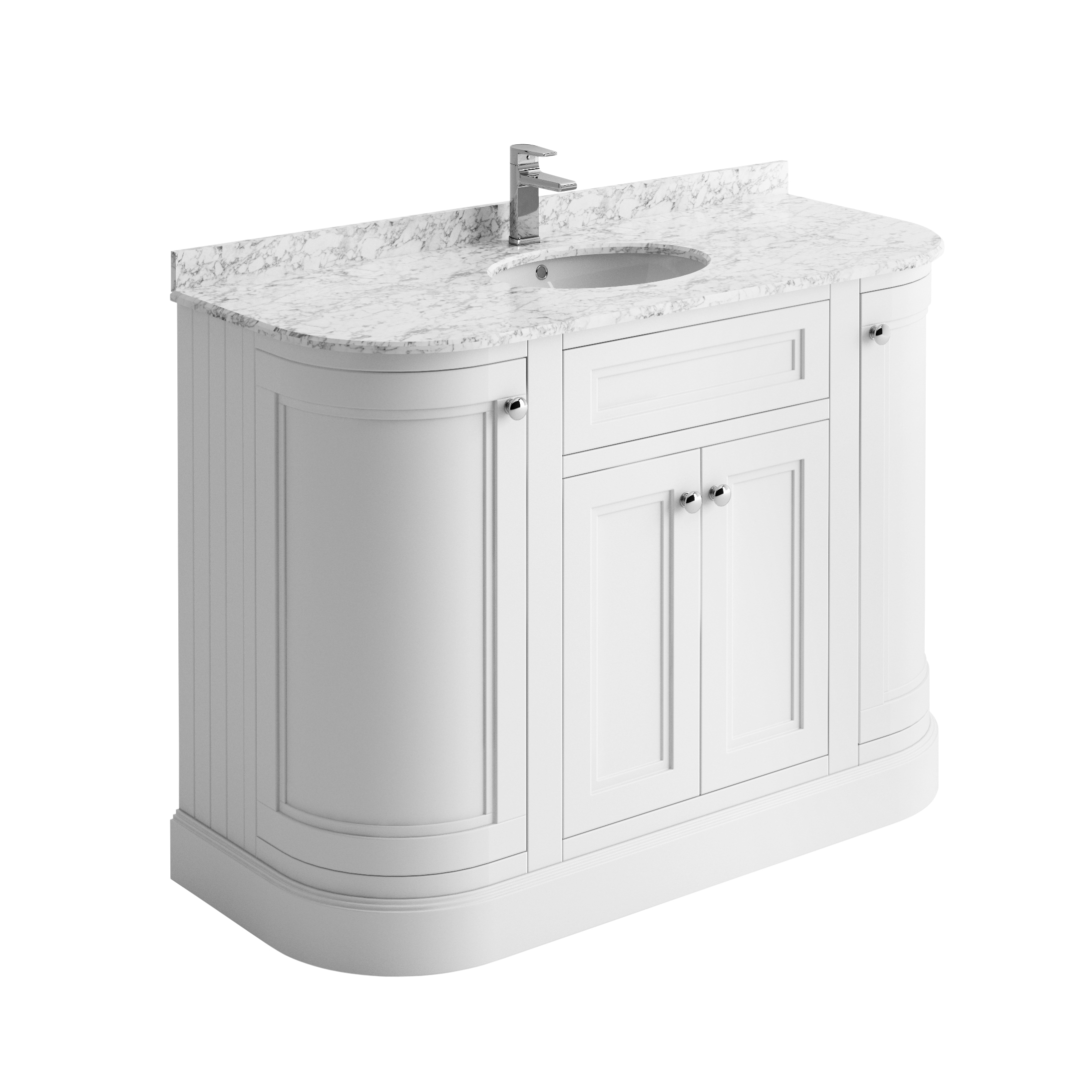 Details About Rowan Traditional White 120cm Curved Vanity Storage Unit Ceramic Sink Marble Top intended for sizing 2187 X 2187