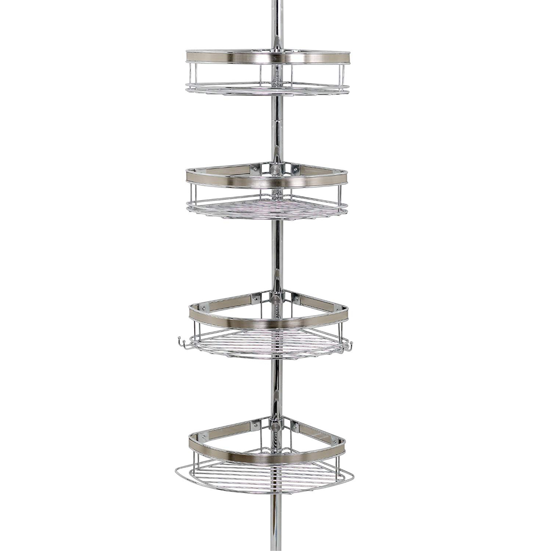Details About Shower Tub Pole Tension Corner Caddy Chrome Bathroom Storage Organizer Shelf throughout measurements 1500 X 1500