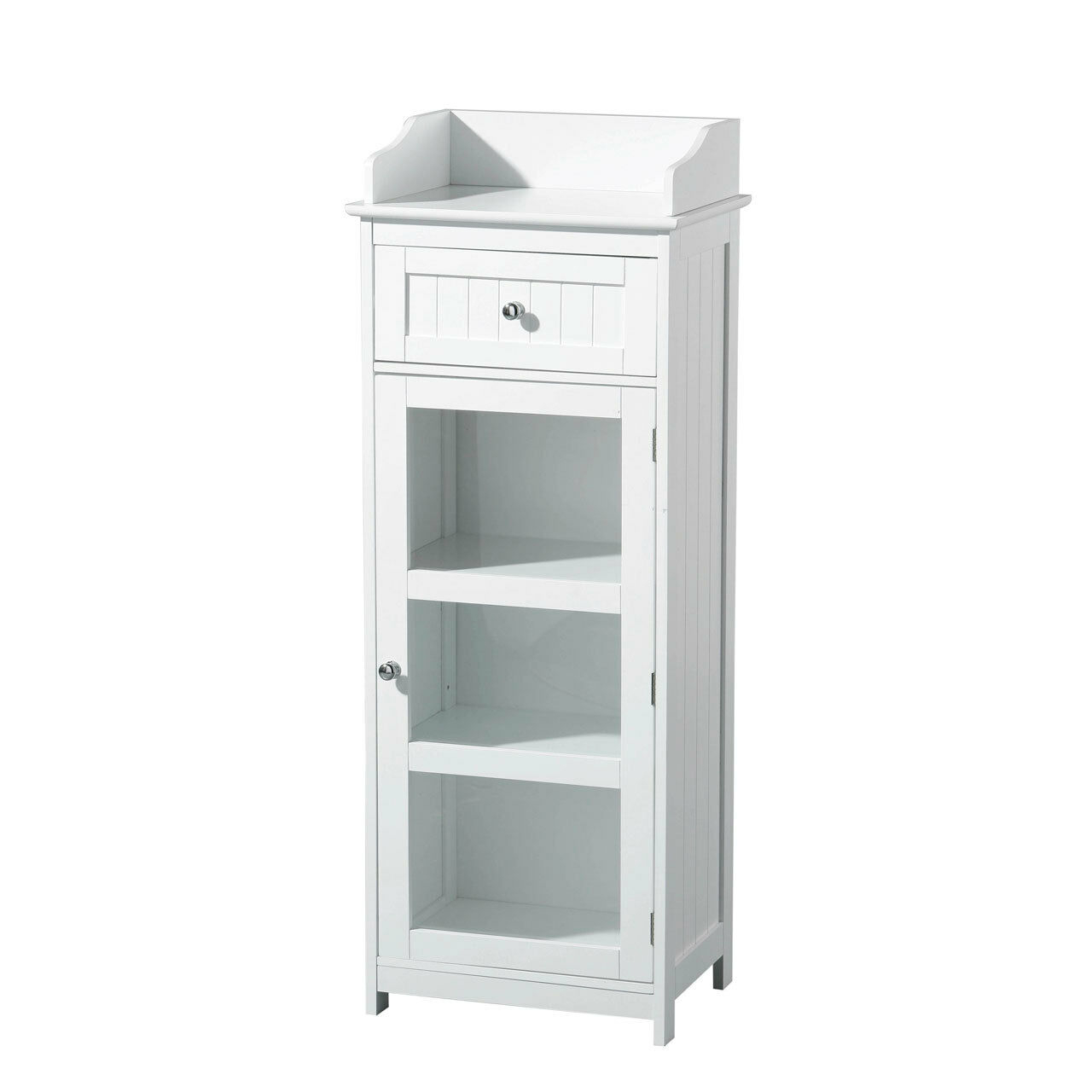 Details About Single Glass Door Bathroom Storage Cabinet White Wooden 3 Inner Shelf Drawer New throughout proportions 1280 X 1280