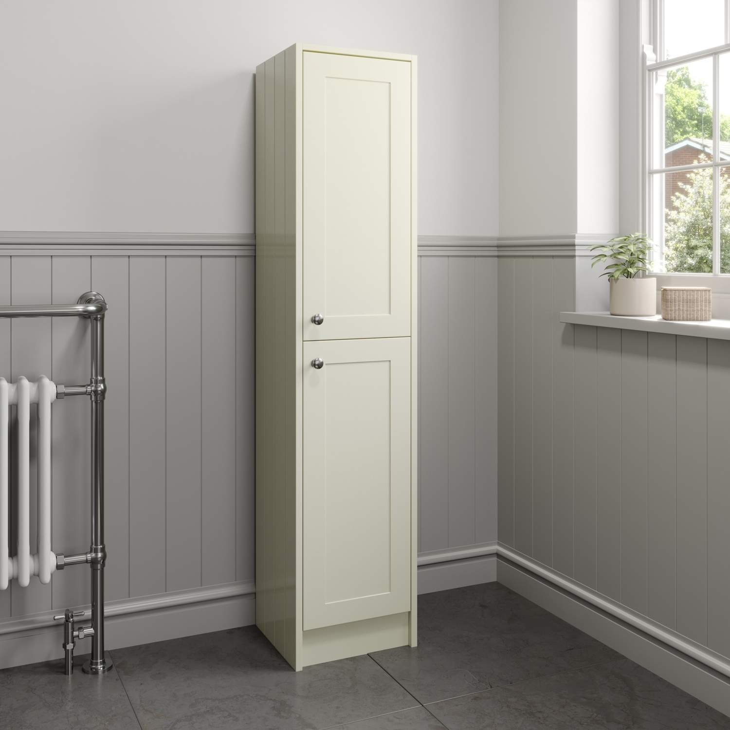 Details About Traditional 1600mm Tall Ivory Bathroom Storage Cabinet Cupboard Floorstanding with sizing 1500 X 1500