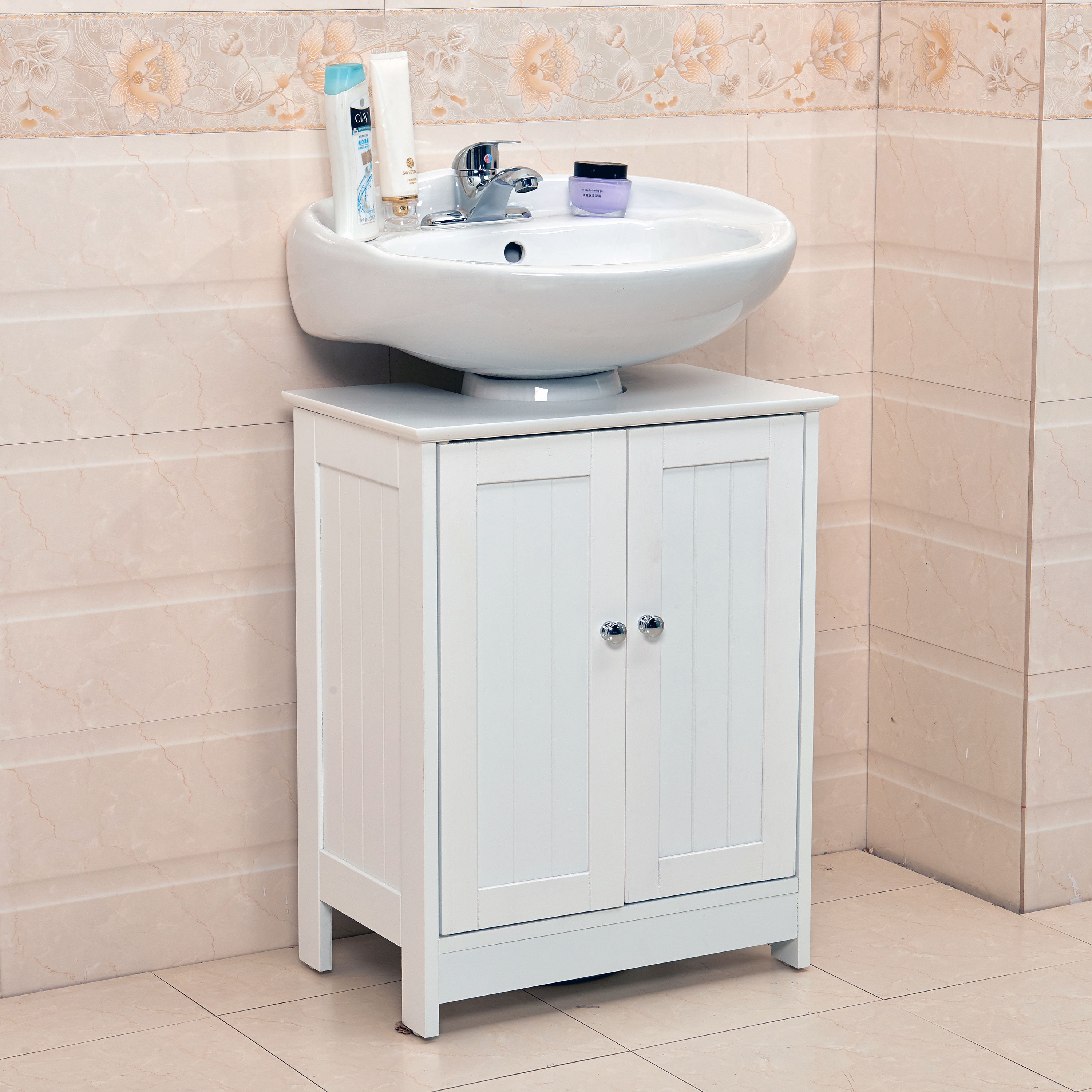 Details About Undersink Bathroom Cabinet Cupboard Vanity Unit Under Sink Basin Storage Wood N intended for proportions 3000 X 3000