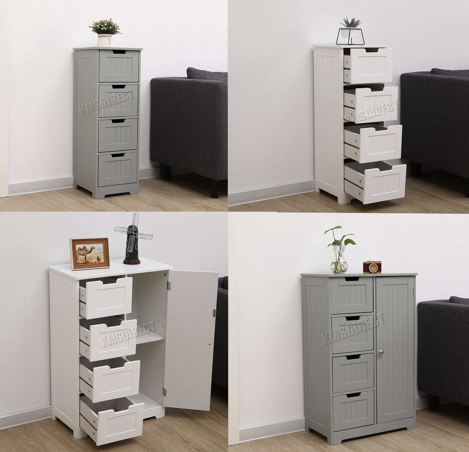 Details About Westwood Bathroom Storage Cabinet Wooden 4 Drawer Cupboard Free Standing Unit with regard to sizing 1600 X 1543