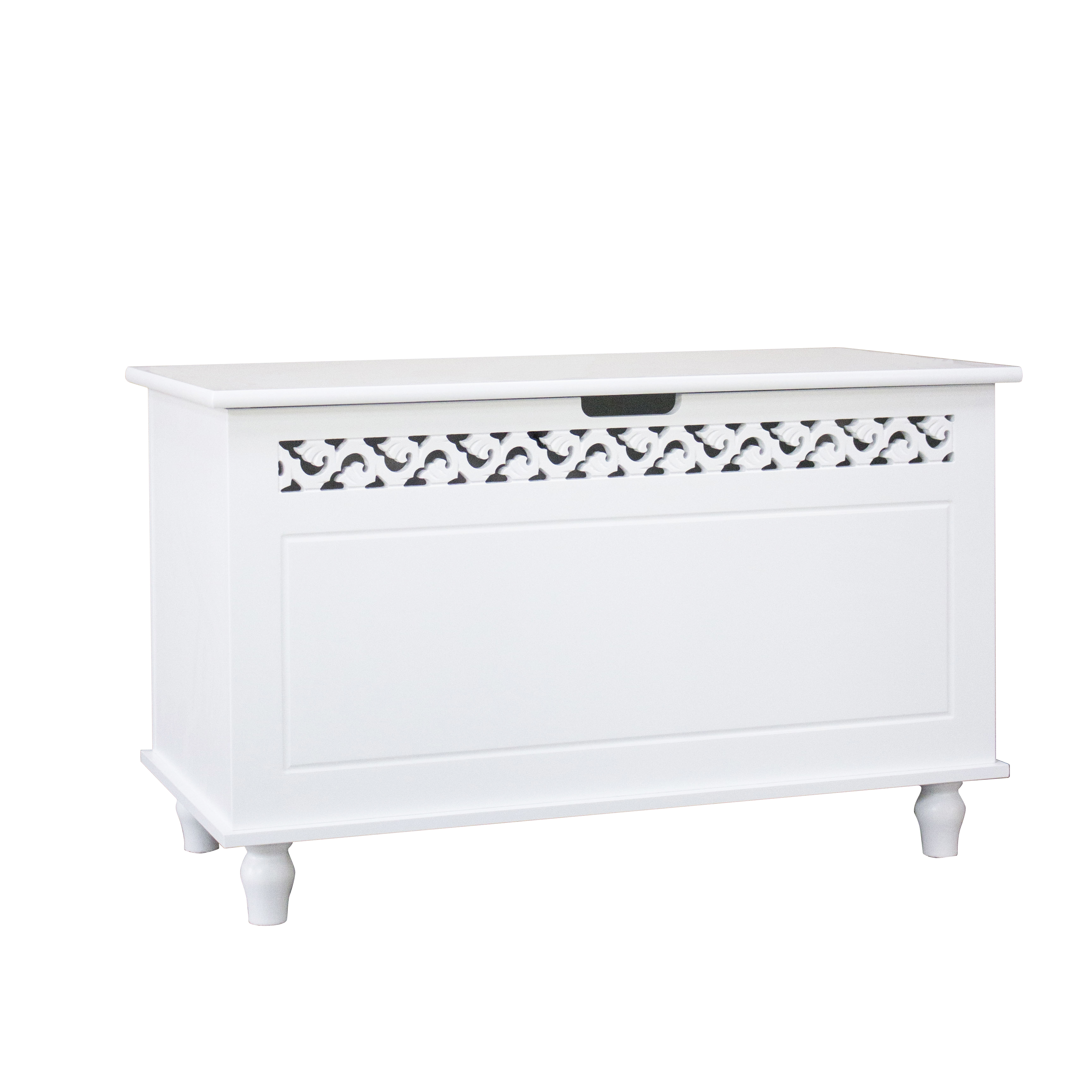 Details About Woodluv Fretwork Mdf Wooden Ottoman Storage Toy Chest Bathroombedding White inside sizing 3456 X 3456