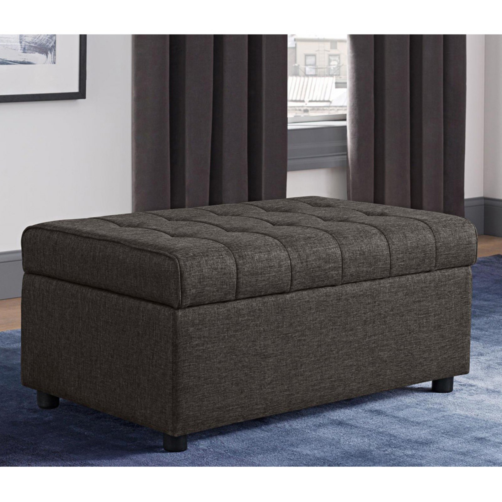 Dhp Emily Rectangular Linen Storage Ottoman Blue In 2019 within proportions 1600 X 1600