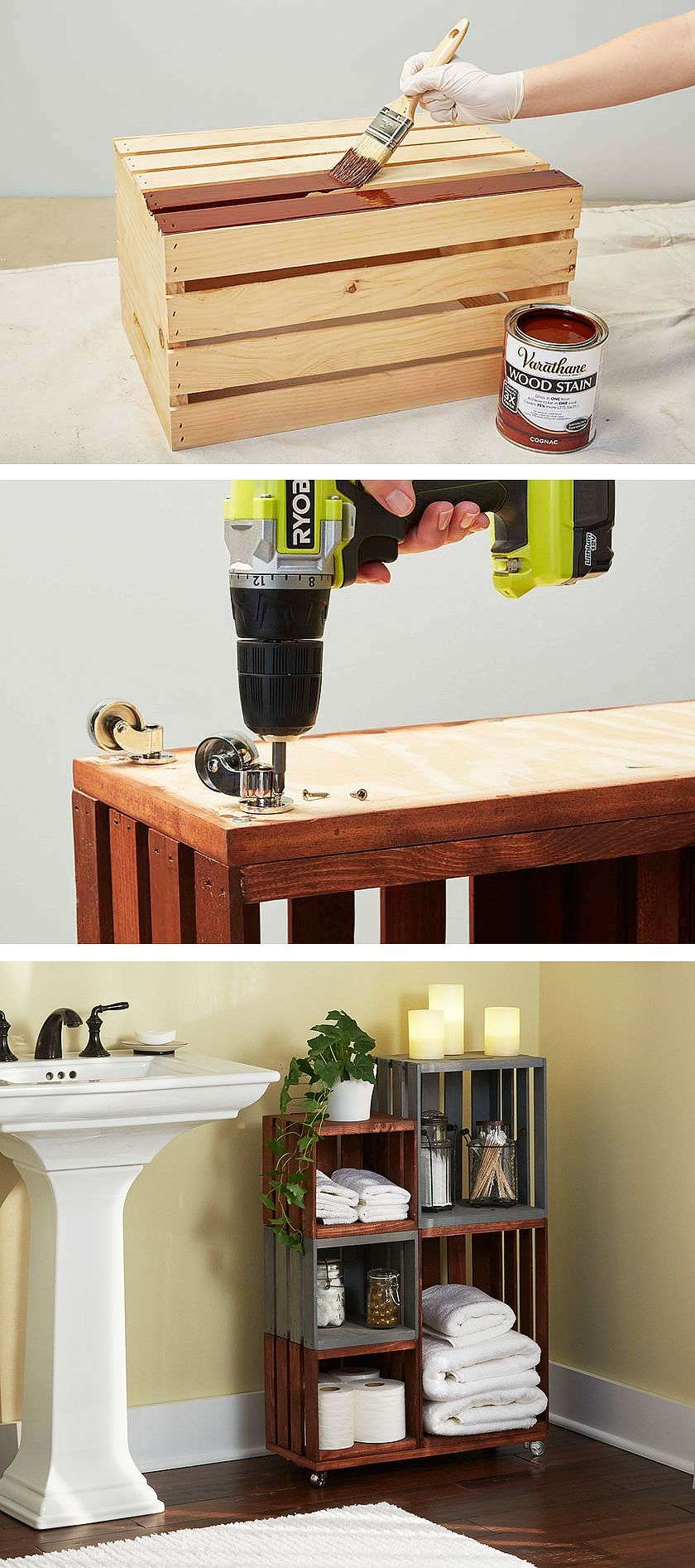 Diy Bathroom Storage Shelves Made From Wooden Crates Easy with sizing 840 X 1892