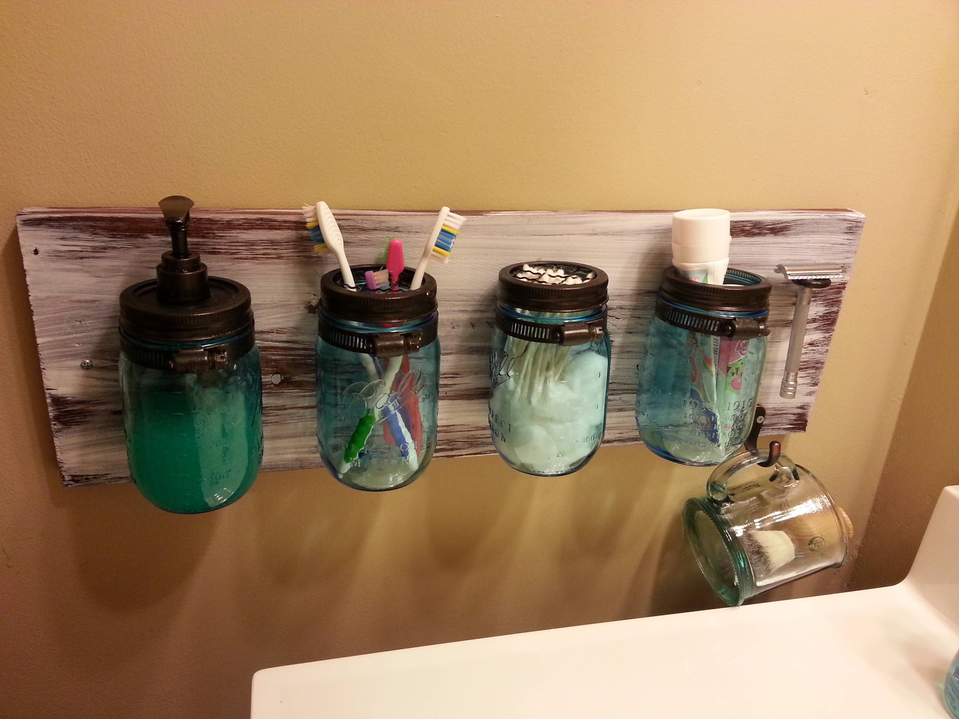 Diy Mason Jar Storage For Your Bathroom Home Diy with measurements 3264 X 2448