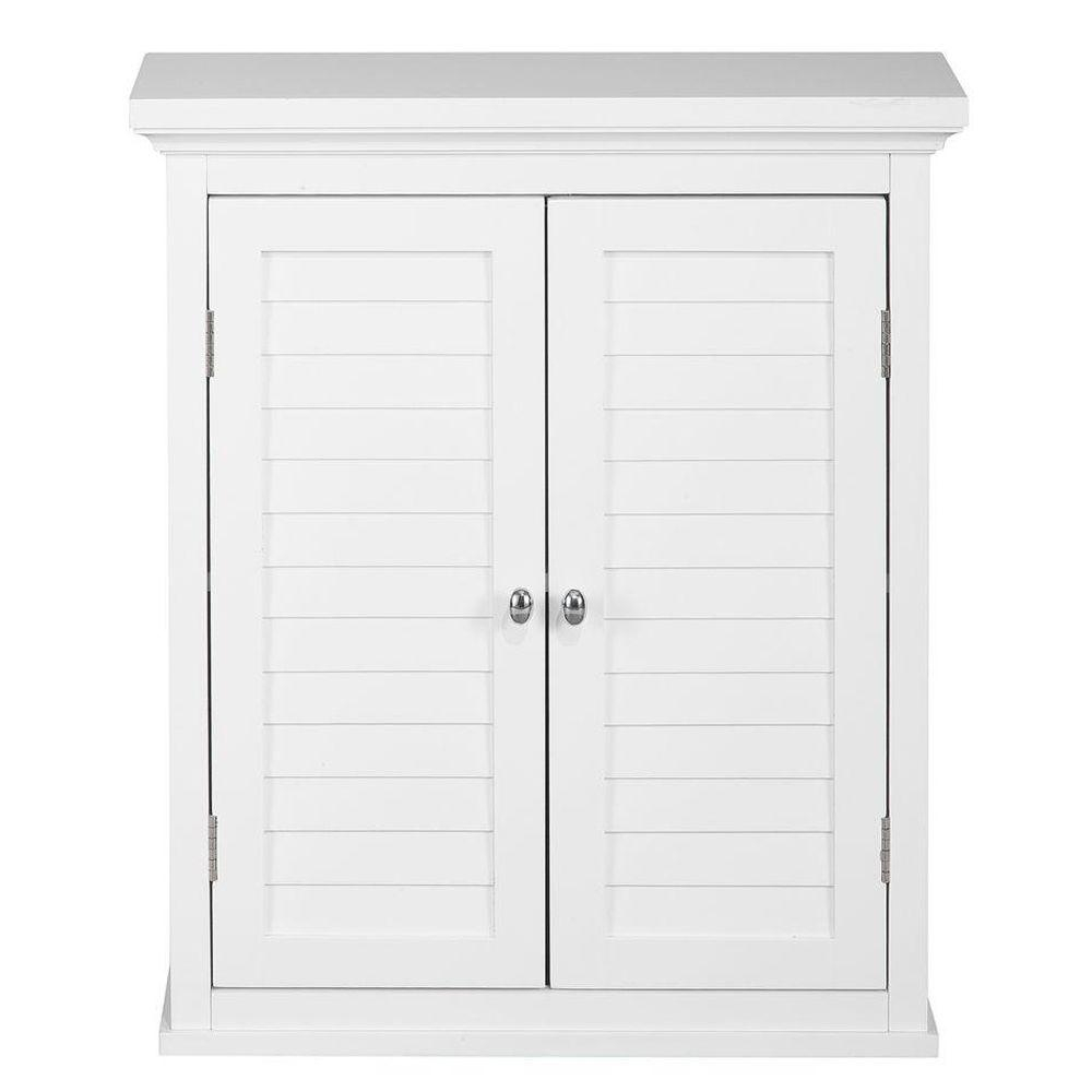 Elegant Home Fashions Simon 20 In W X 24 In H X 7 In D Bathroom Storage Wall Cabinet With 2 Shutter Doors In White for sizing 1000 X 1000