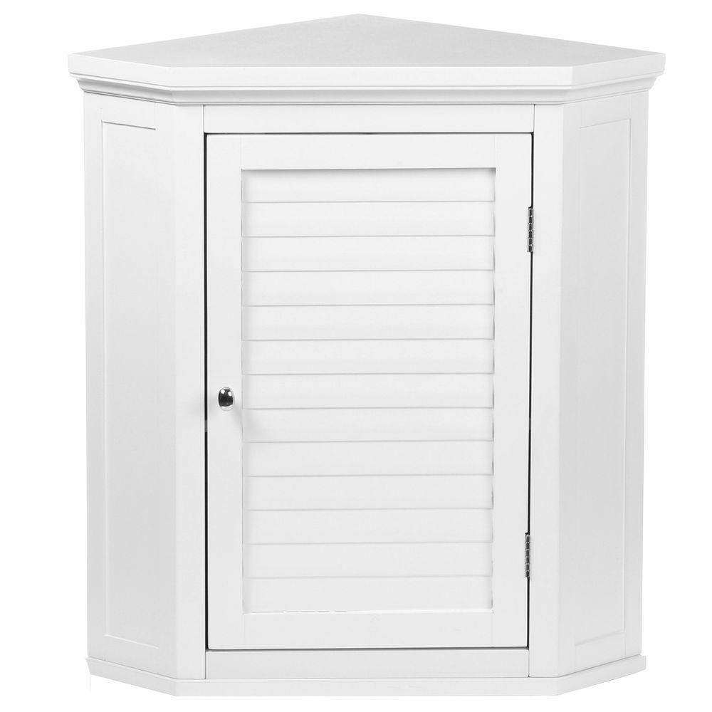Elegant Home Fashions Simon 22 12 In W X 24 In H X 15 In D Corner Bathroom Storage Wall Cabinet With Shutter Door In White inside dimensions 1000 X 1000