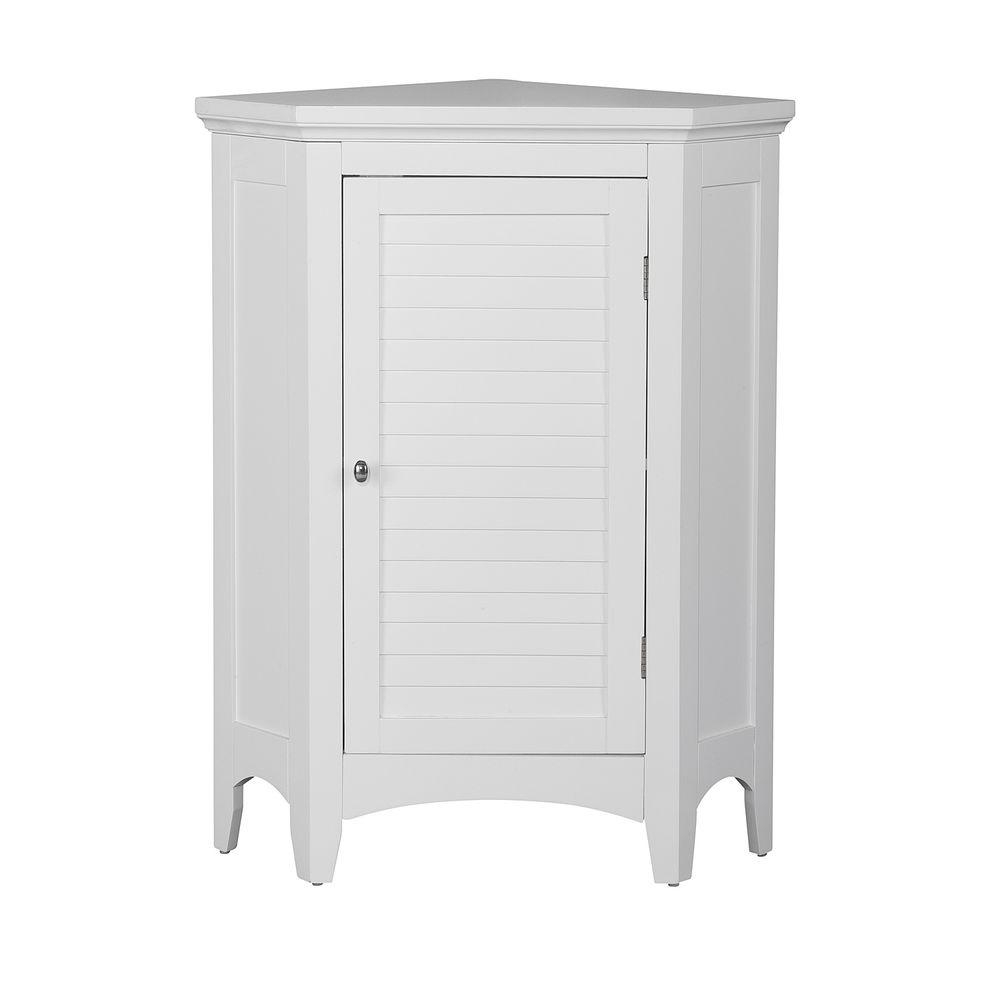 Elegant Home Fashions Simon 24 34 In W X 17 In D X 32 In H Corner Bathroom Linen Storage Floor Cabinet With Shutter Door In White throughout size 1000 X 1000