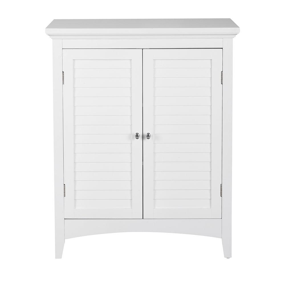 Elegant Home Fashions Simon 26 In W X 13 In D X 32 In H Bathroom Linen Storage Floor Cabinet With 2 Shutter Doors In White for measurements 1000 X 1000