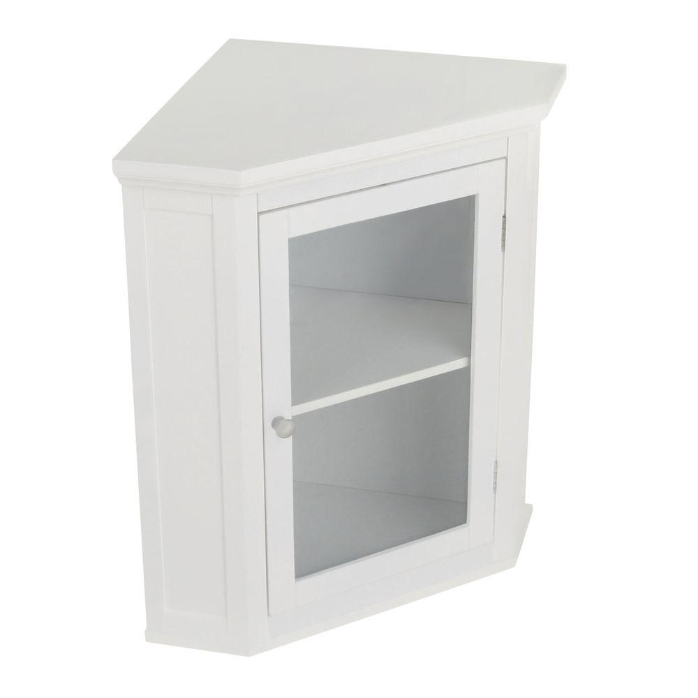 Elegant Home Fashions Wilshire 21 14 In W X 23 34 In H X 14 14 In D Corner Bathroom Storage Wall Cabinet In White intended for dimensions 1000 X 1000