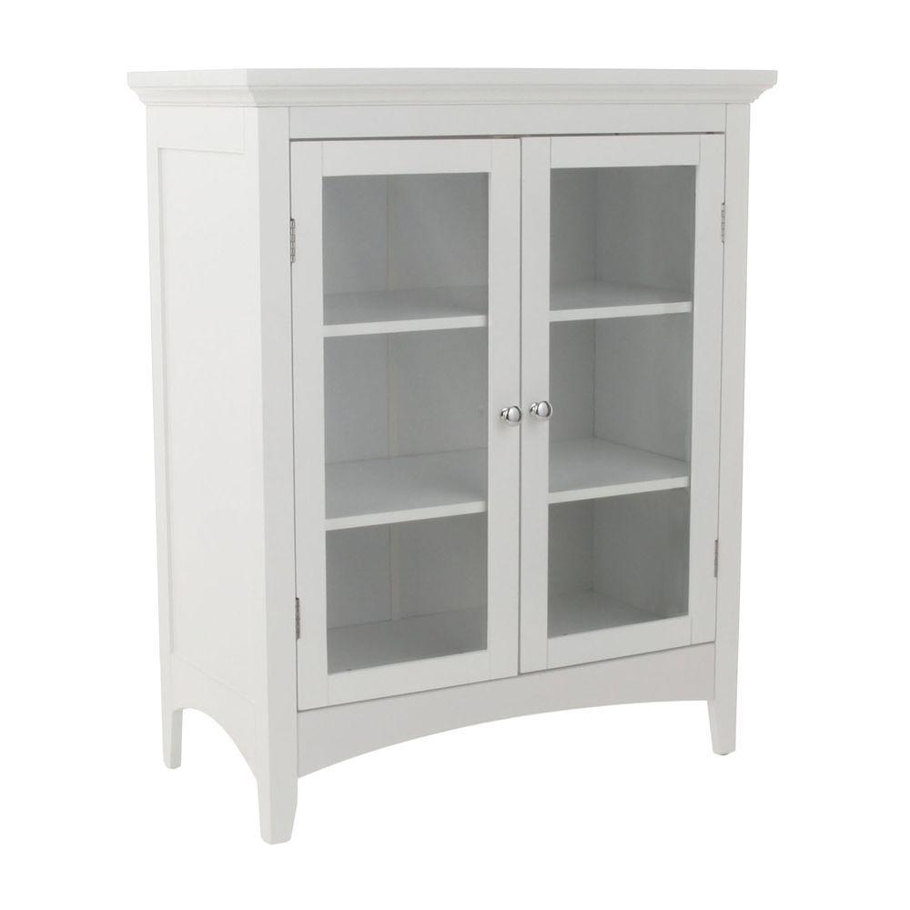 Elegant Home Fashions Wilshire 26 In W X 32 In H X 13 In D 2 Door Bathroom Linen Storage Floor Cabinet In White for proportions 1000 X 1000