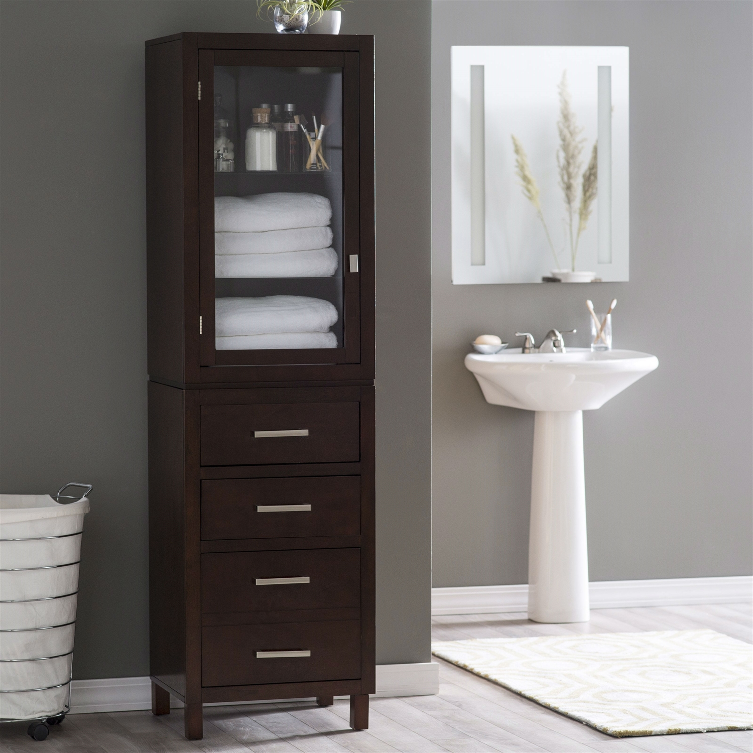 Espresso Wood Linen Tower Bathroom Storage Cabinet With Glass Paneled Door 1972 3979 regarding sizing 1500 X 1500