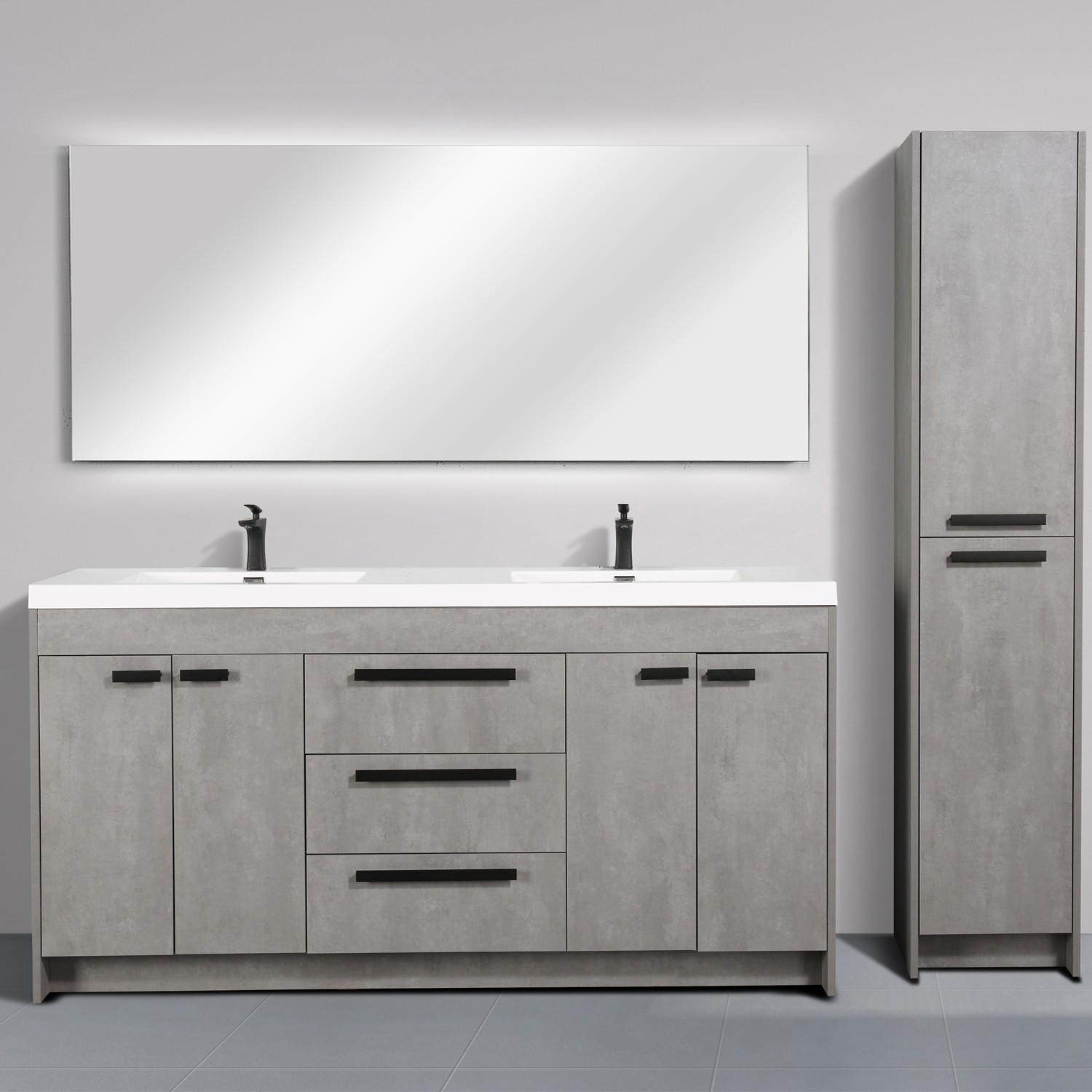 Eviva Lugano 72 Cement Grey Modern Bathroom Vanity With White Integrated Acrylic Sink inside dimensions 1500 X 1500