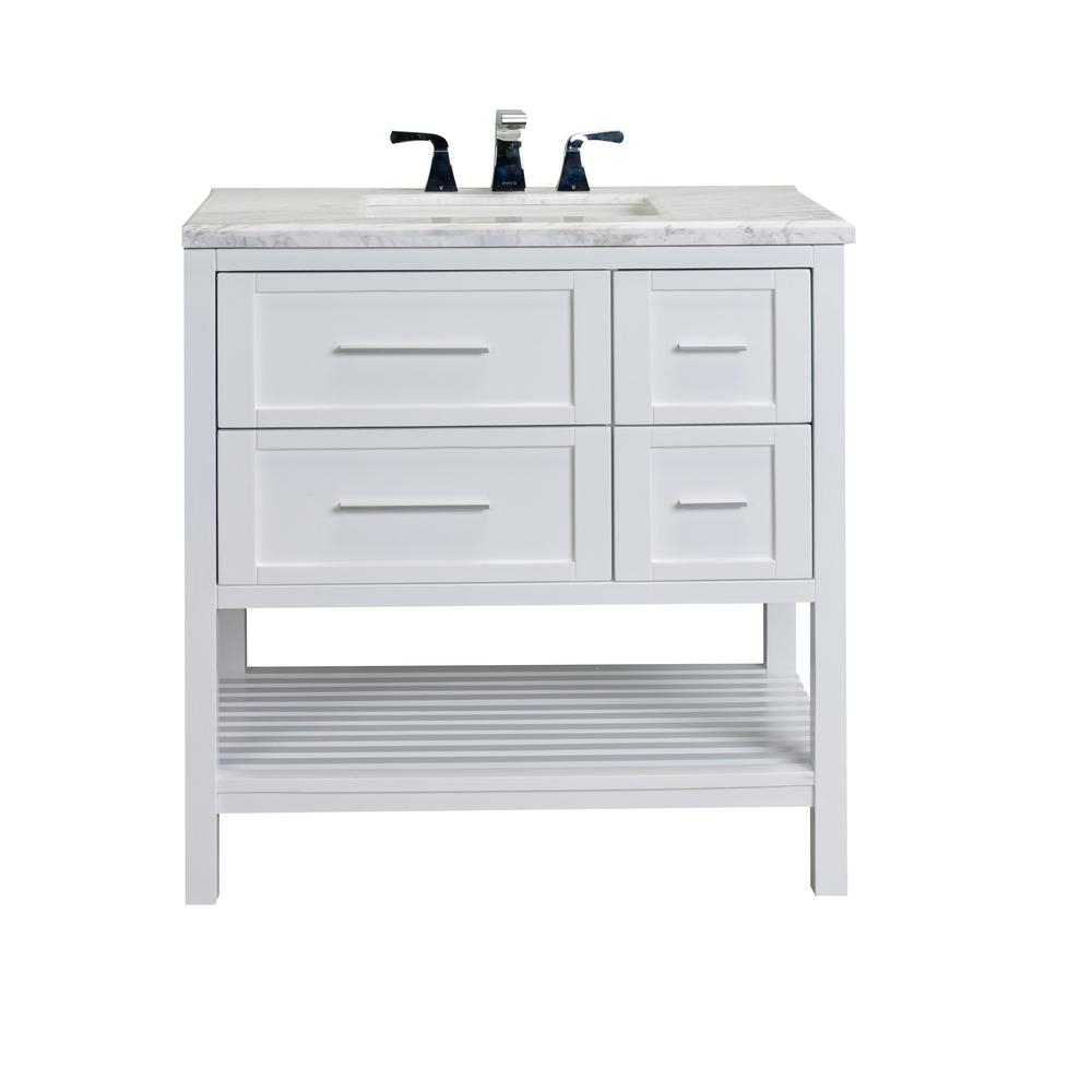 Eviva Natalie 36 In W X 22 In D X 36 In H Vanity In White With Carrara Marble Top In White With White Basin within size 1000 X 1000