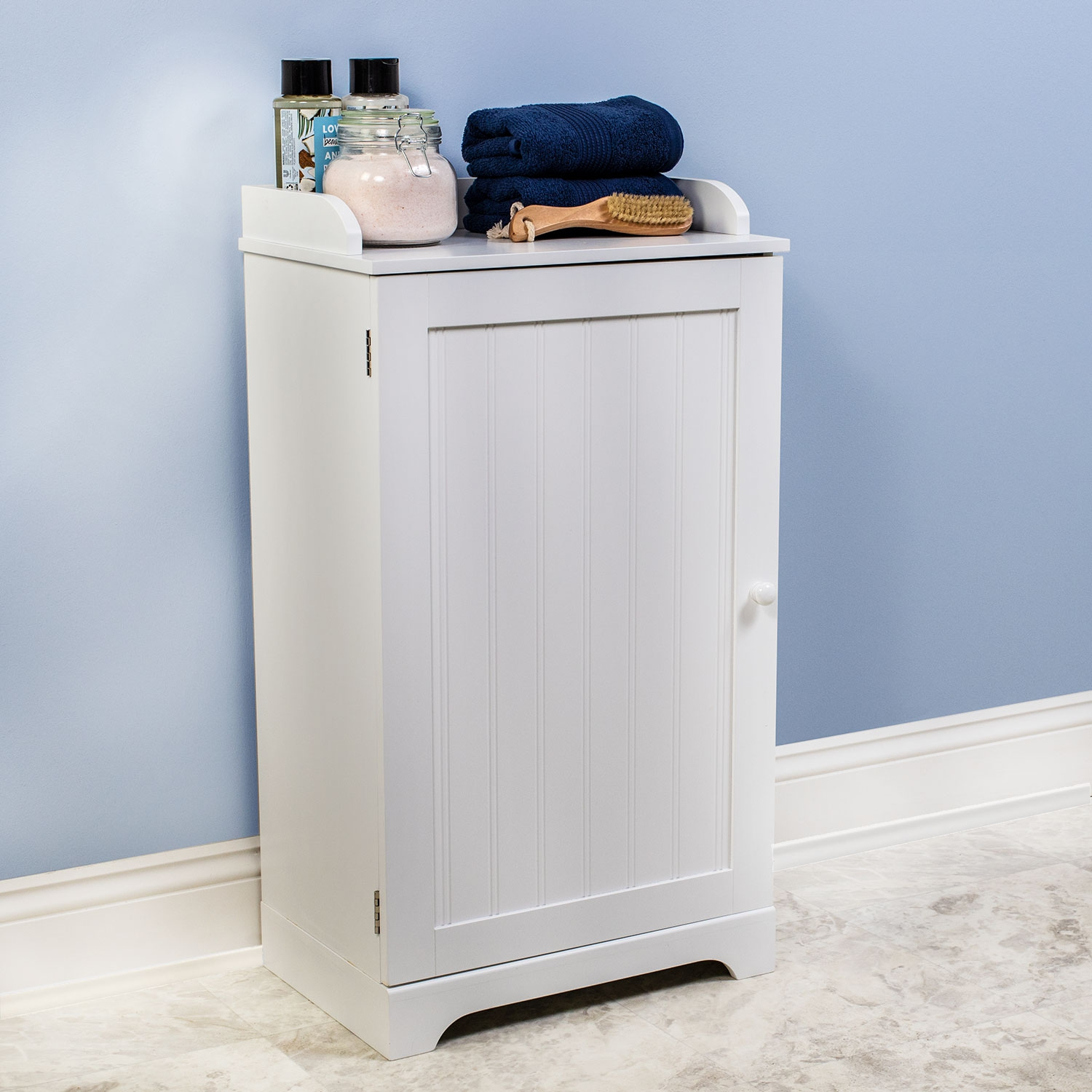 Free Standing White Bathroom Floor Storage Cabinet Organizer Adjustable Shelf for sizing 1500 X 1500