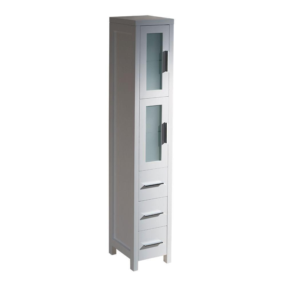 Fresca Torino 12 In W X 68 13100 In H X 15 In D Bathroom Linen Storage Tower Cabinet In White regarding size 1000 X 1000