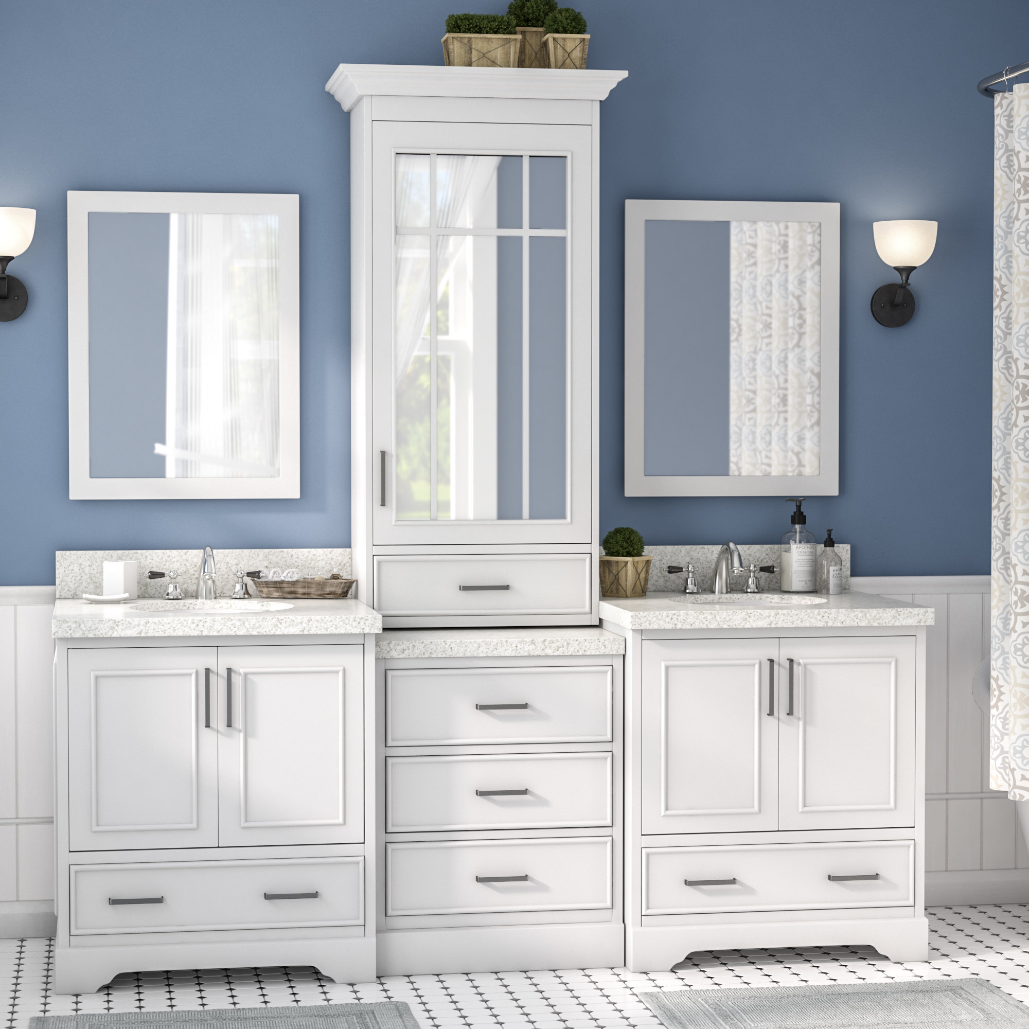 Geraldina 85 Double Sink Bathroom Vanity With Mirror throughout dimensions 2000 X 2000
