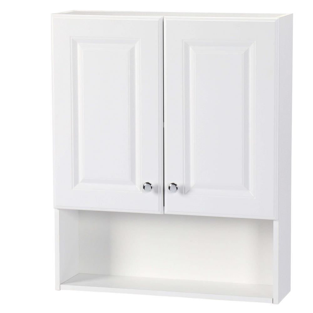 Glacier Bay 23 In W X 28 In H X 6 12 In D Bathroom Storage Wall Cabinet With Shelf In White in sizing 1000 X 1000