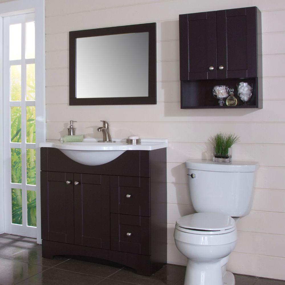 Glacier Bay Del Mar 21 In W X 26 In H X 8 In D Over The Toilet Bathroom Storage Wall Cabinet In Espresso regarding dimensions 1000 X 1000
