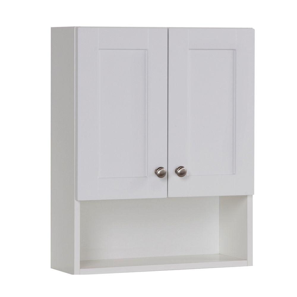 Glacier Bay Del Mar 21 In W X 26 In H X 8 In D Over The Toilet Bathroom Storage Wall Cabinet In White within sizing 1000 X 1000