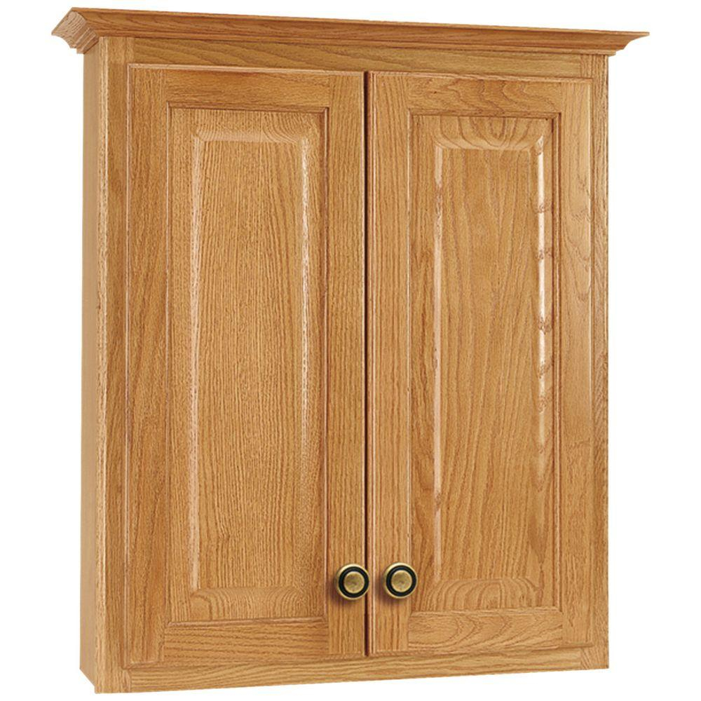 Glacier Bay Hampton 25 In W X 29 In H X 7 12 In D Bathroom Storage Wall Cabinet In Oak throughout sizing 1000 X 1000