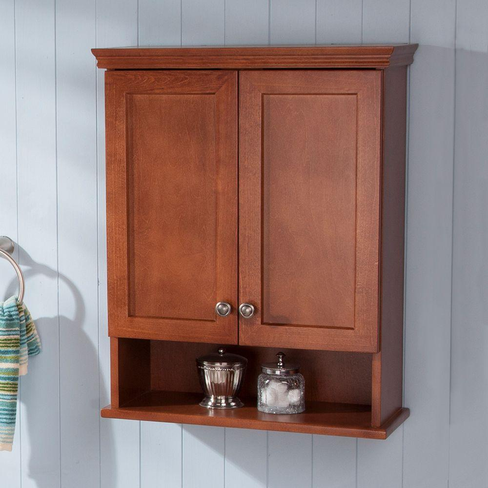 Glacier Bay Lancaster 22 In W X 28 In H X 9 In D Over The Toilet Bathroom Storage Wall Cabinet In Amber for dimensions 1000 X 1000