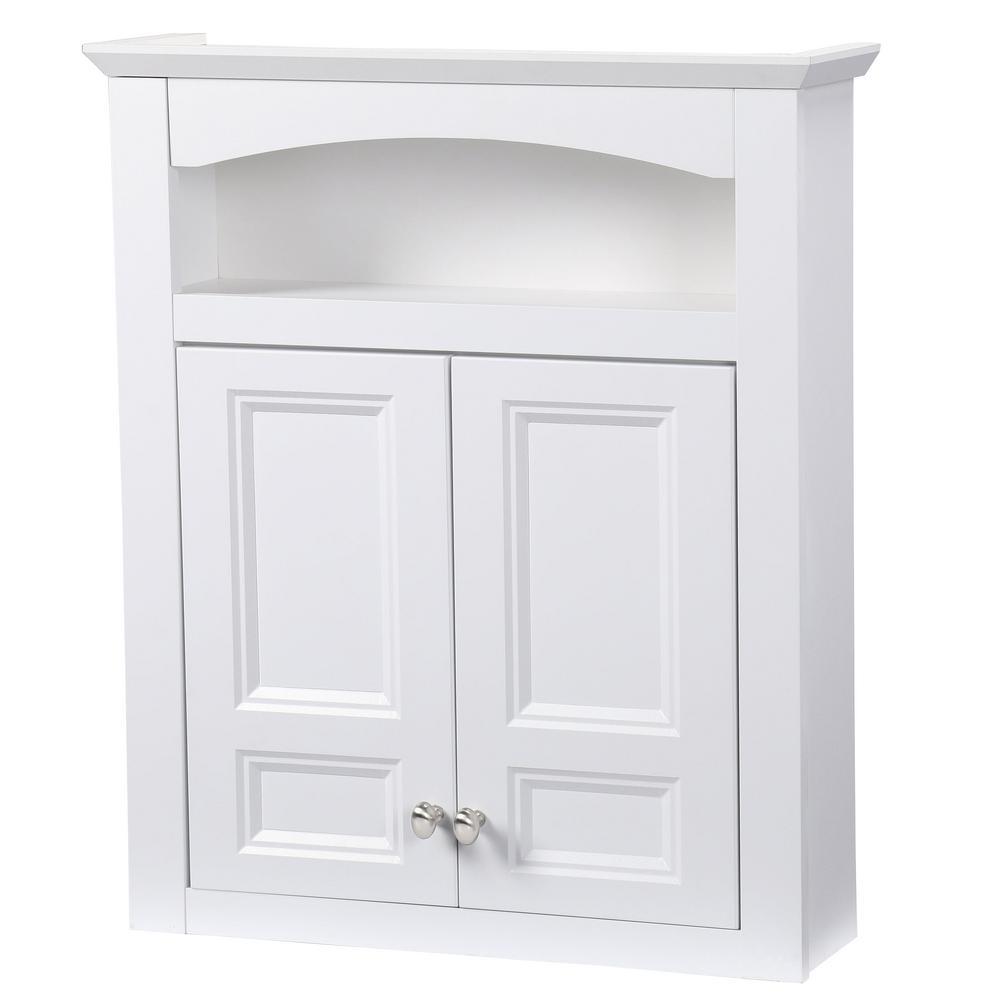 Glacier Bay Modular 24 35 In W X 29 In H X 6 910 In D Bathroom Storage Wall Cabinet In White inside measurements 1000 X 1000