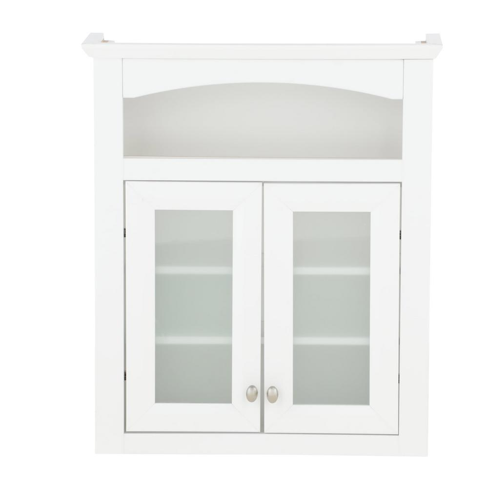 Glacier Bay Modular 24 35 In W X 29 In H X 6 910 In D Bathroom Storage Wall Cabinet With Frosted Glass In White inside sizing 1000 X 1000